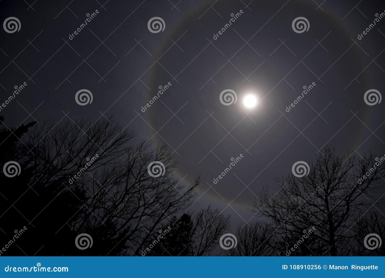 Alone lunare in cielo nordamericano di inverno