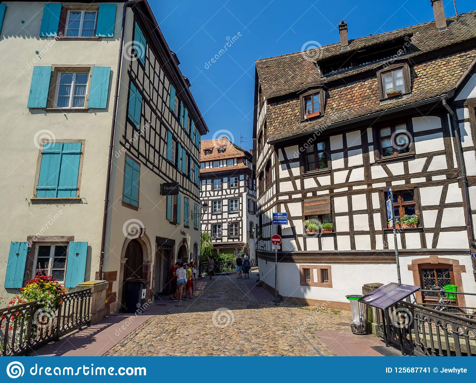 Along the Ill River in Petite France areas of Strasbourg in the Alsace  region of France. The homes are the traditional half timbered houses  visible all over ... a67c0380d25