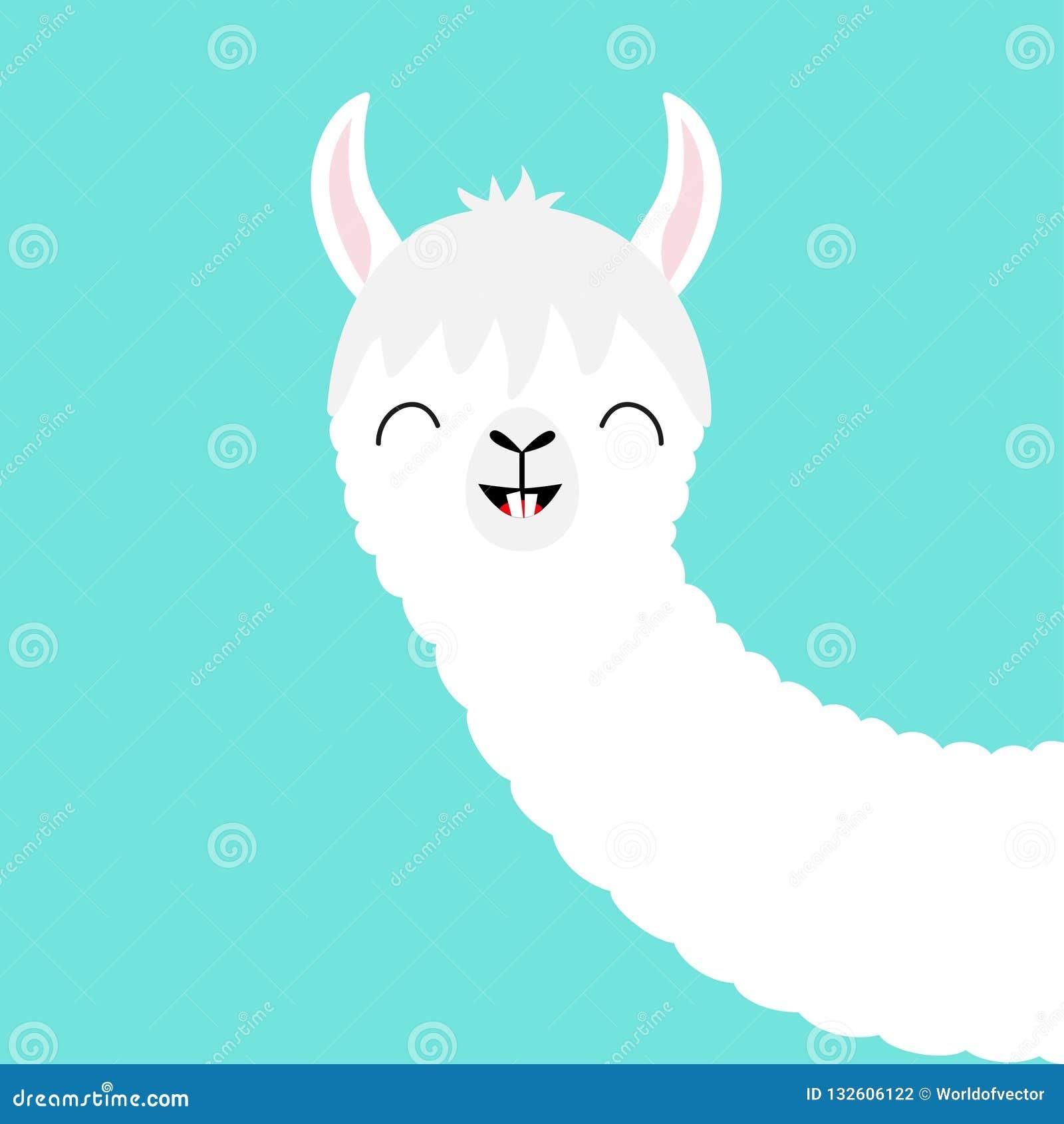 1e68ffbca7a1 Alpaca Llama Animal Face. Cute Cartoon Kawaii Smiling Character ...