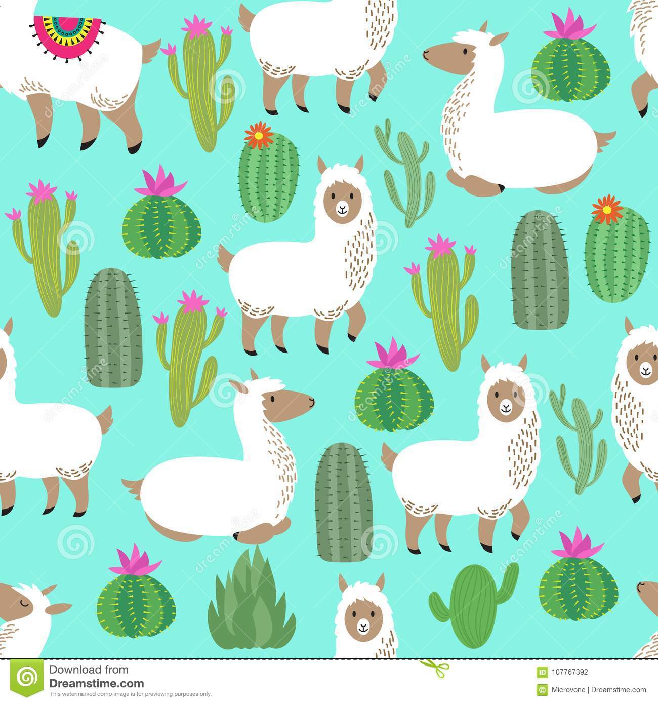 alpaca seamless vector pattern cute llama baby repetitive