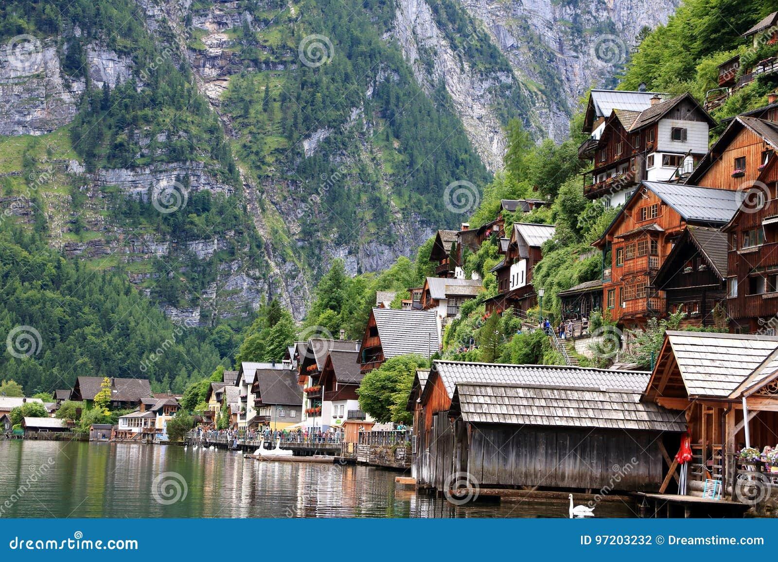 Alpejscy domy dekorujący z kwiatami i roślinami