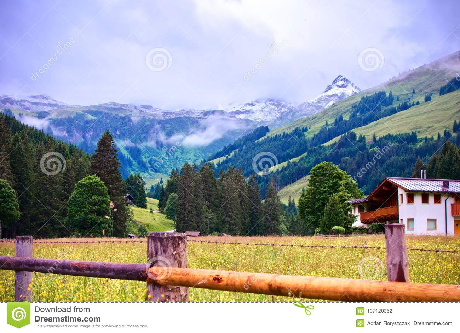 Alpejska góra z śnieżnym szczytem z drewnianym ogrodzeniem i szalety w przedpolu przy Talschluï ¿ ½ w Saalbach, Austria