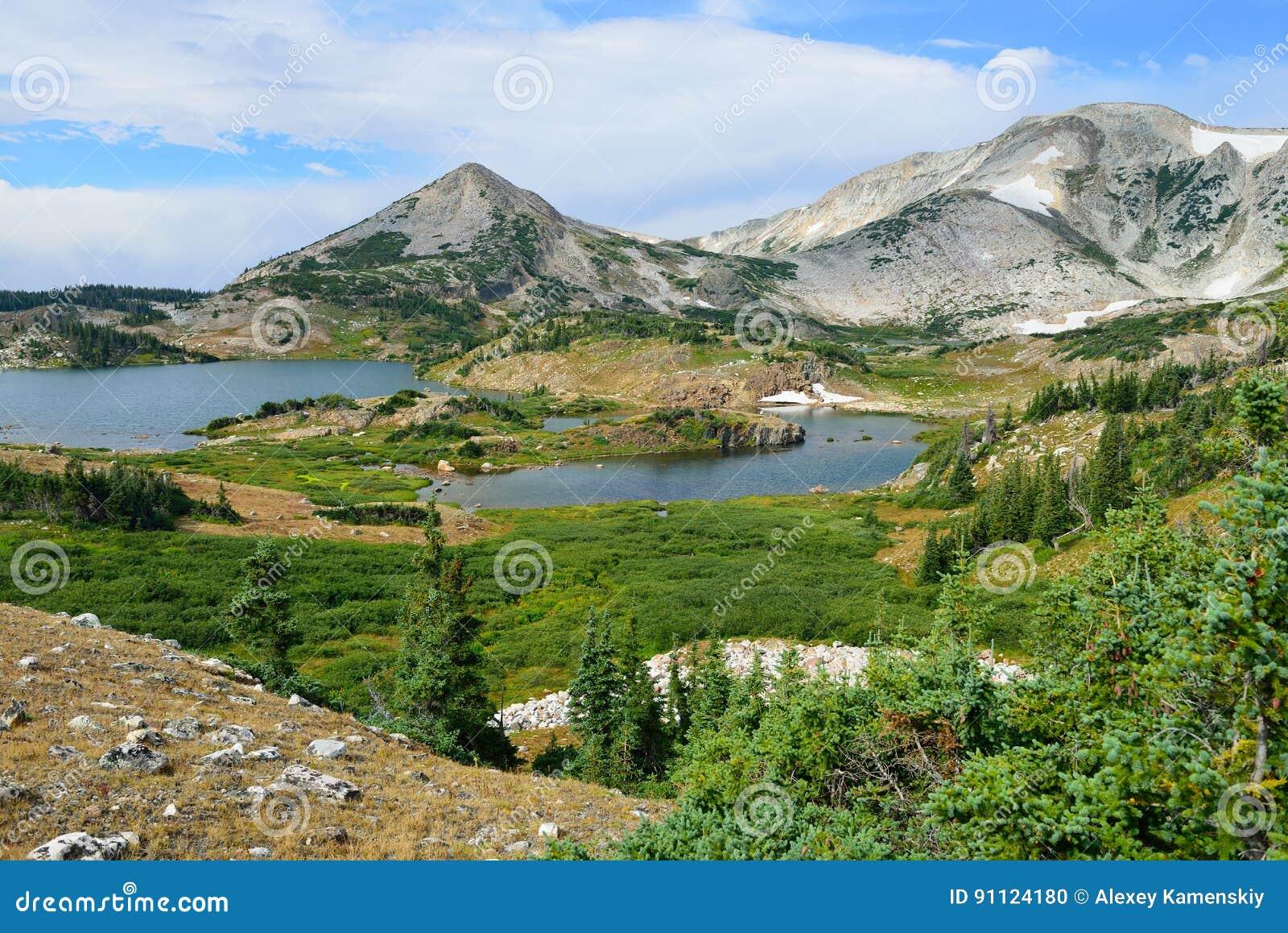 Alpejski krajobraz w medycyna łęku górach Wyoming