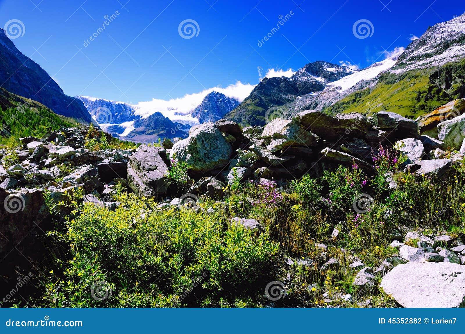 Alpes suisses près de Matterhorn et de Schwarzsee