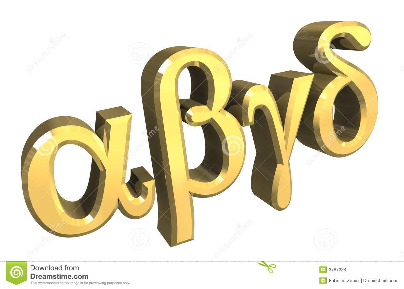Alpha Beta Gamma Symbol In Gold 3d Stock Illustration