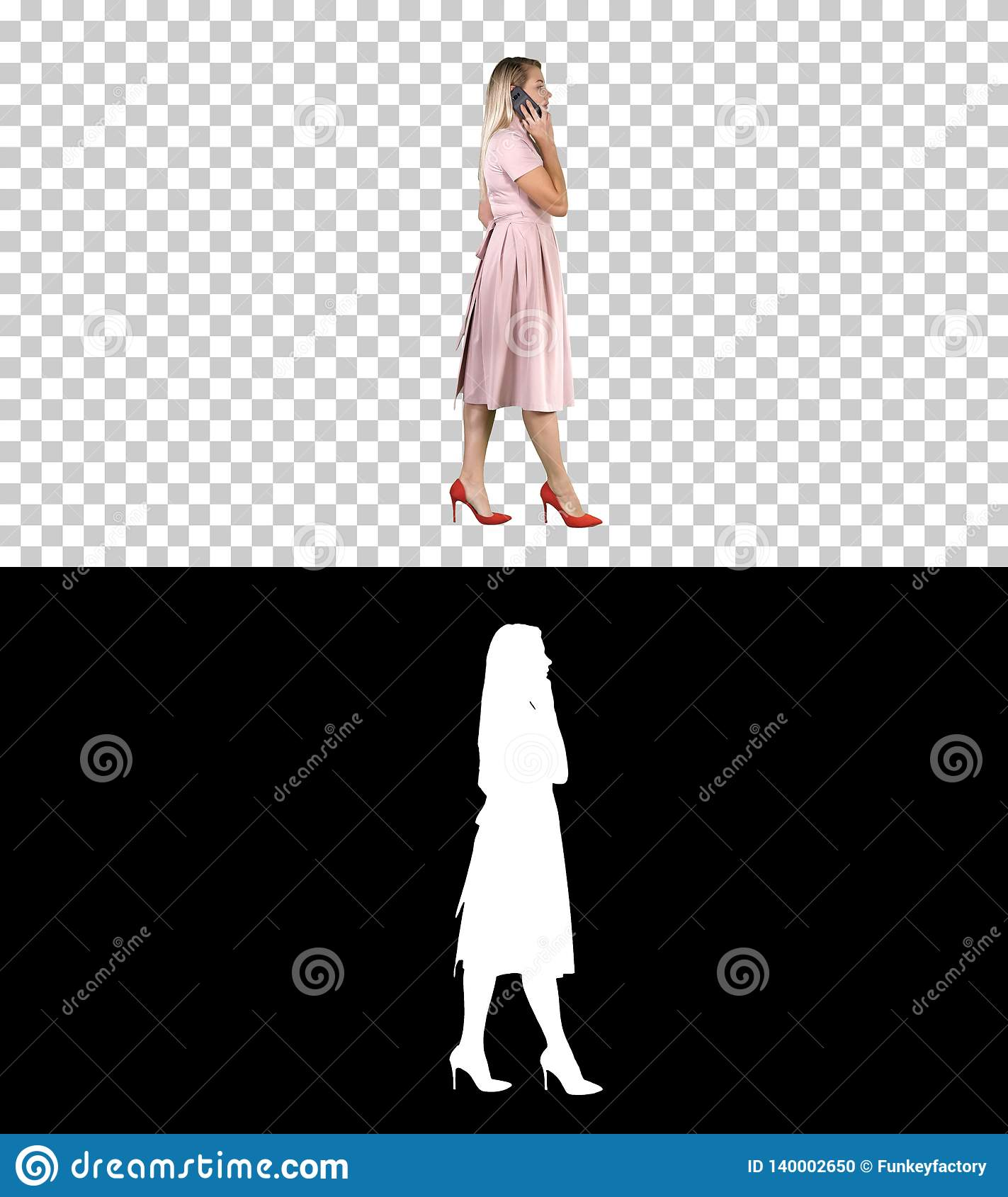 Woman in pink dress talking on the phone, Alpha Channel