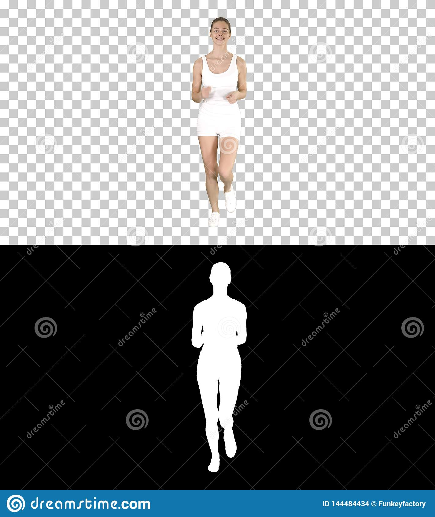 Blonde young woman running, Alpha Channel