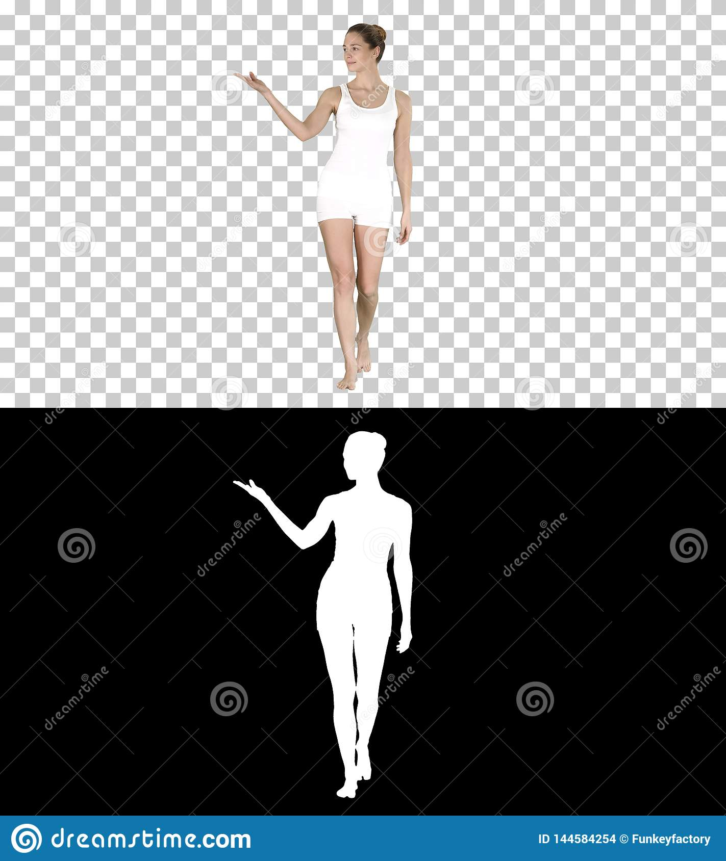 Young blonde woman walking and pointing to side showing on something, Alpha Channel