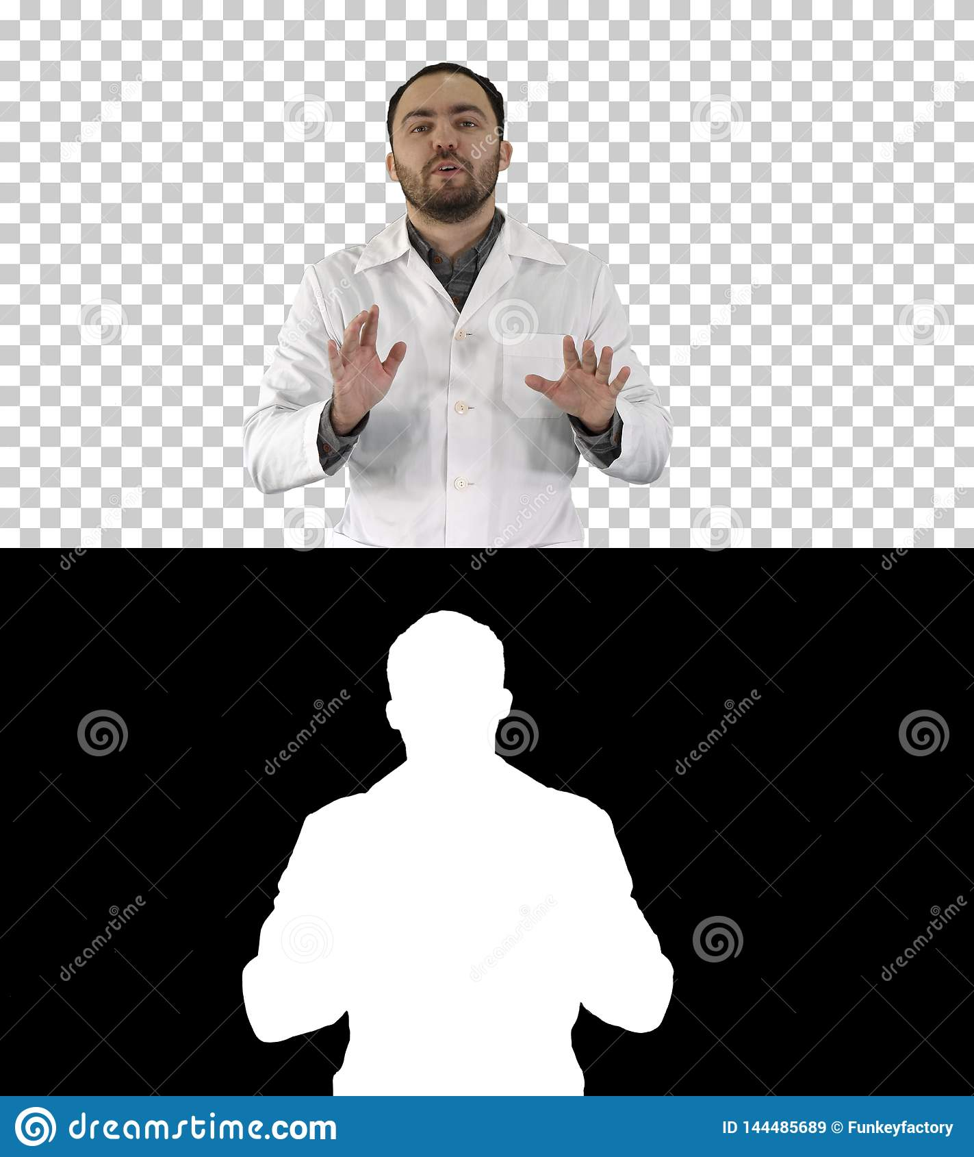 Friendly male medicine therapeutist doctor walking and talking looking in camera, Alpha Channel