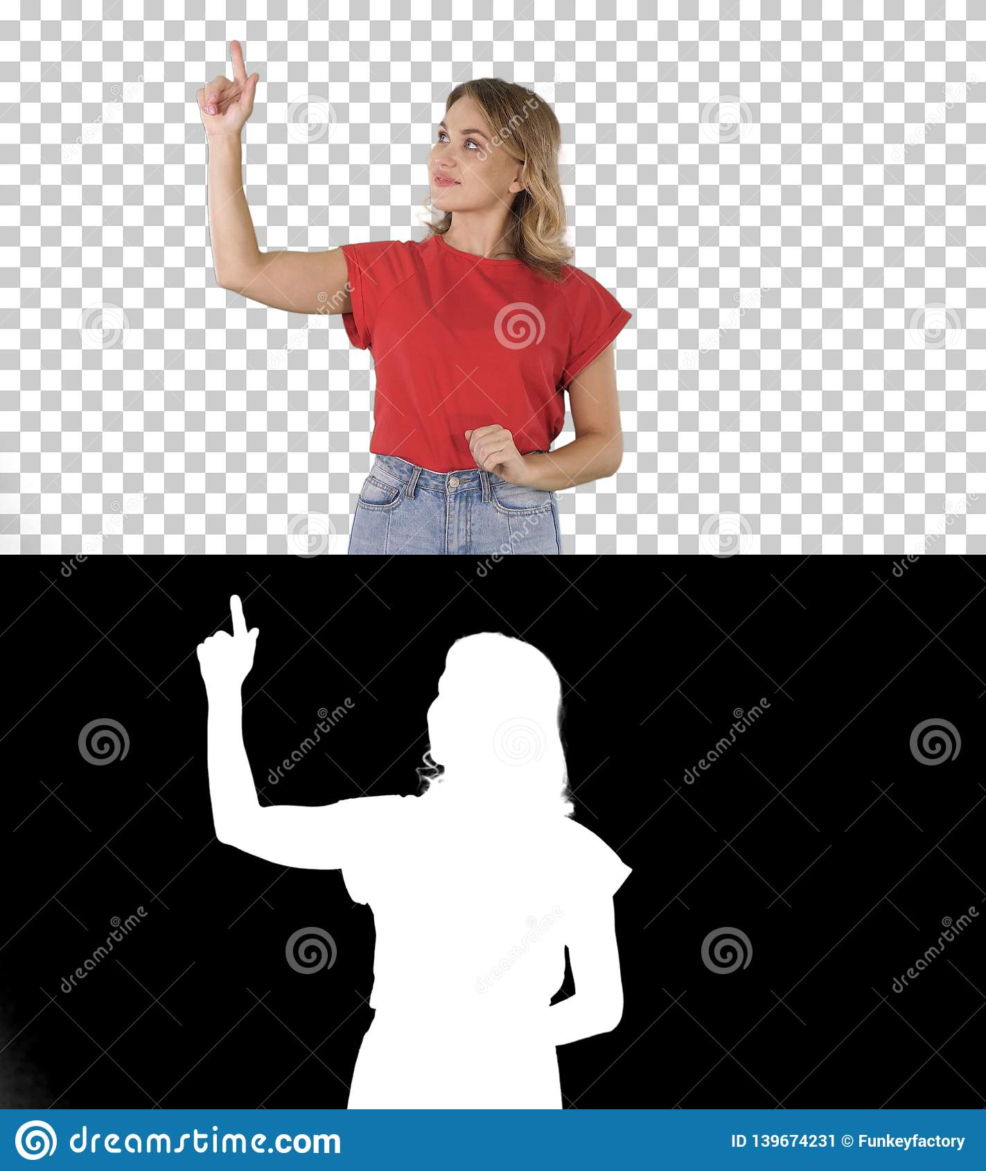 Happy young woman showing a product pointing with her finger to sides Presentation, Alpha Channel
