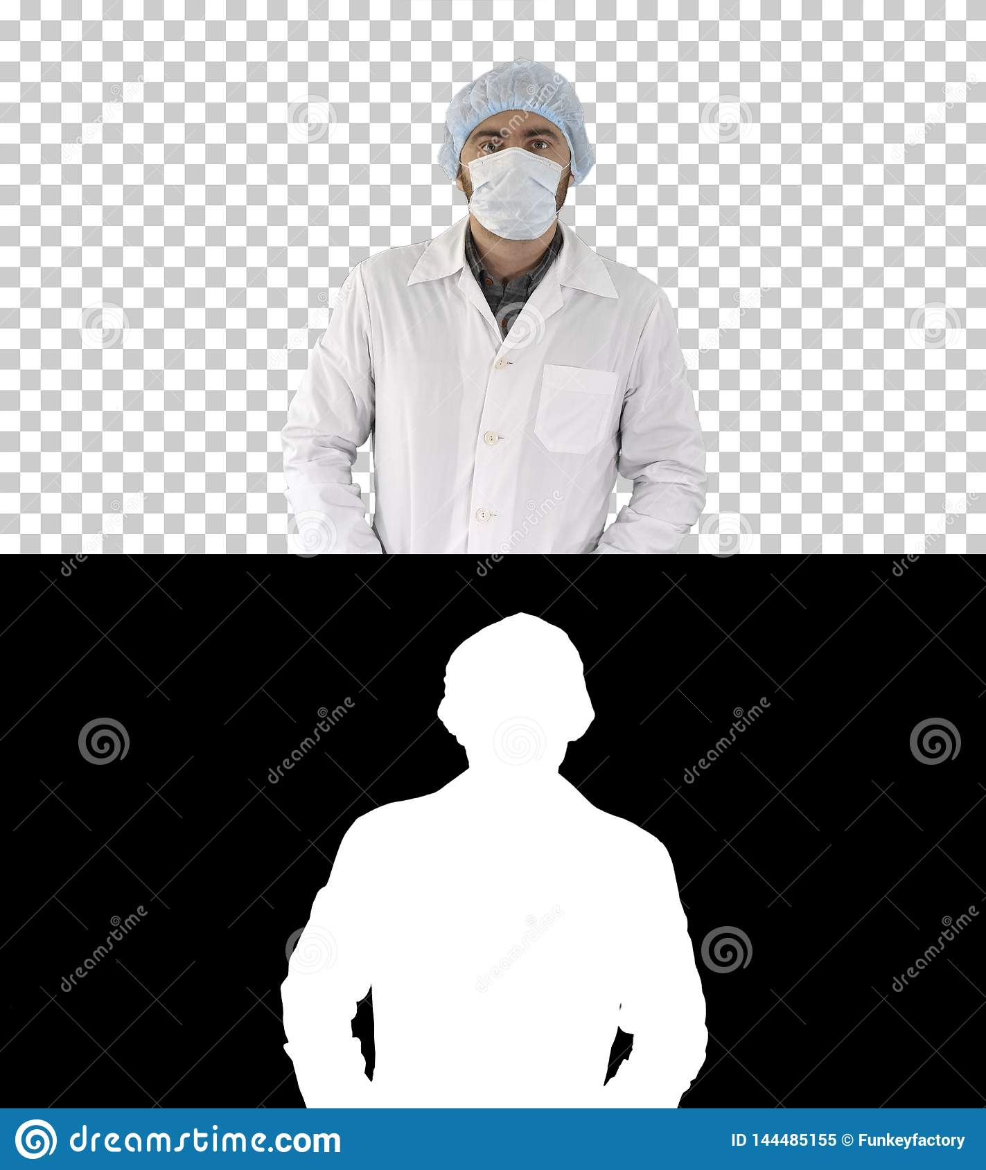 Portrait of medical doctor putting mask and hat on, Alpha Channel