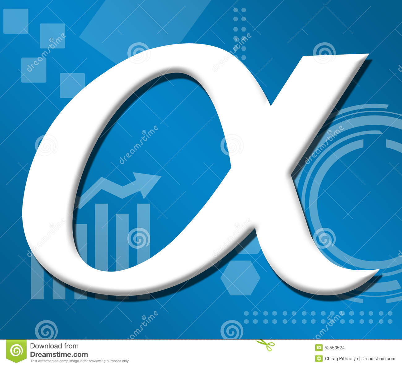 alpha symbol over technical business background stock illustration