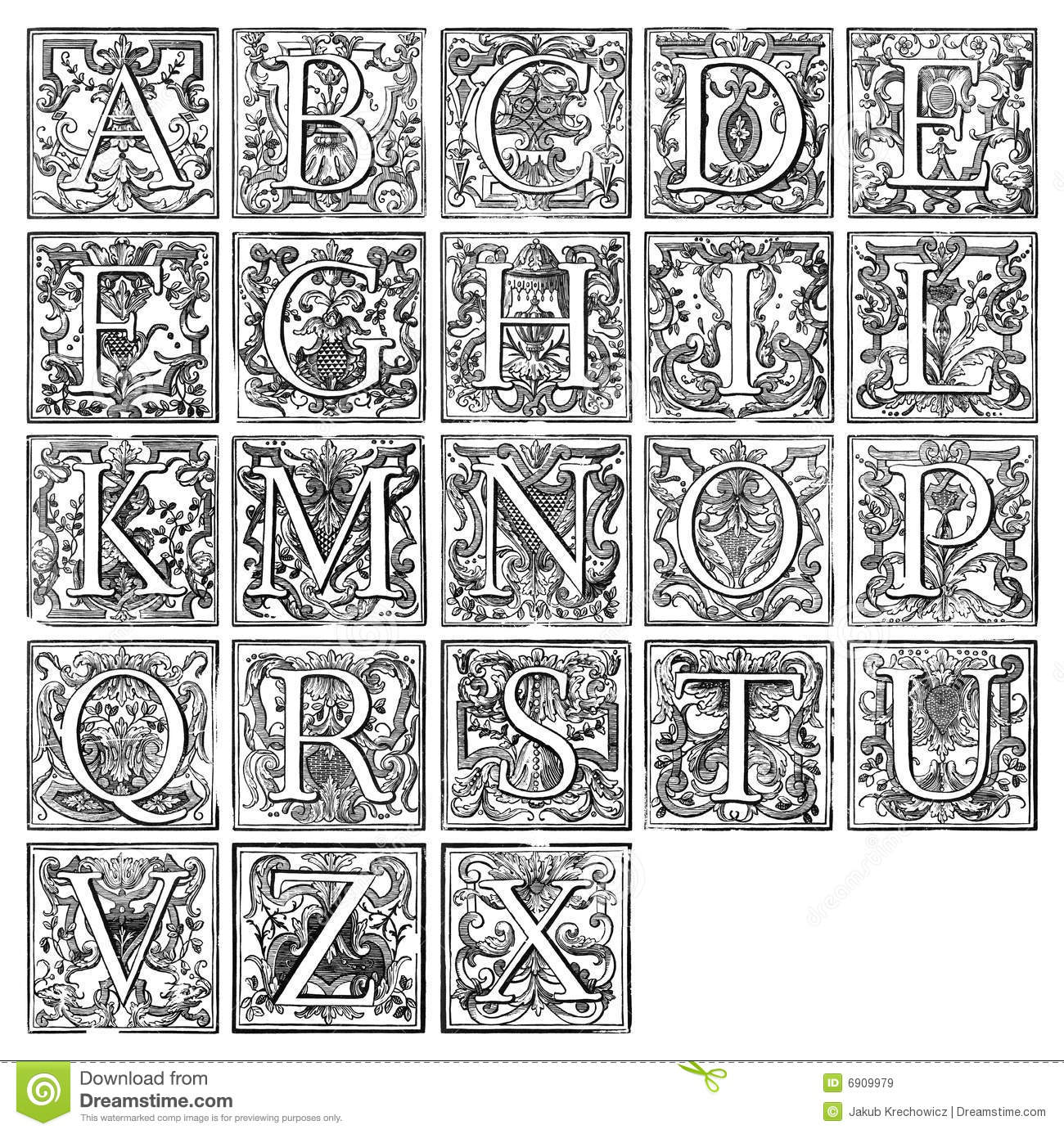 Alphabet From 16th Century Royalty Free Stock Images - Image: 6909979