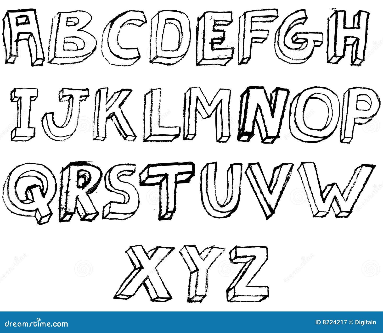 Bien connu Alphabet 3D Grunge En Noir Et Blanc Photographie stock libre de  AV39