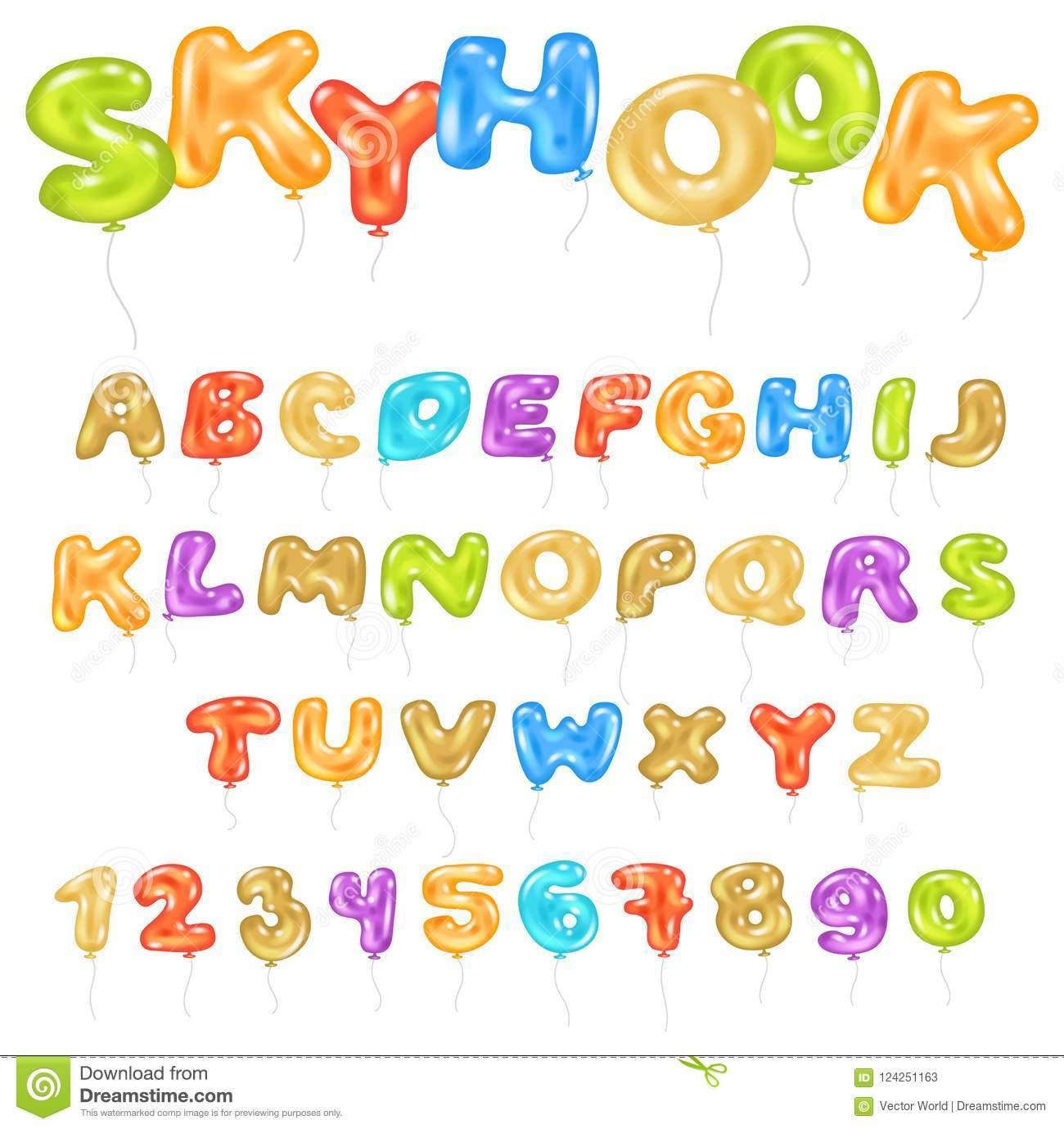 Alphabet ABC Vector Balloon Kids Alphabetical Font With Helium Color ...