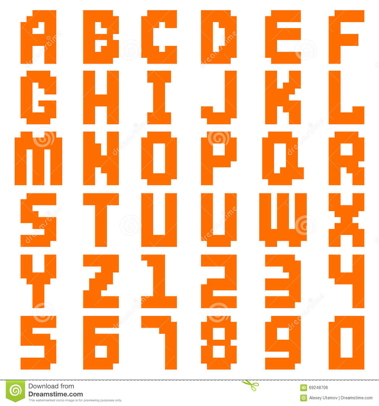 Alphabet Abstract Pixel Art All Letters And Number Design