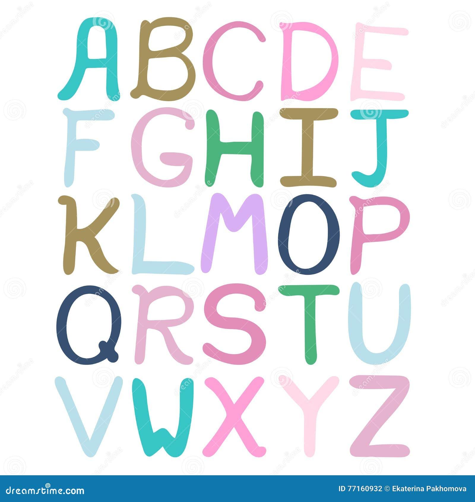 Alphabet abstrait tiré par la main coloré Alphabet, ABC, style tiré par la main d enfants, police d isolement, type