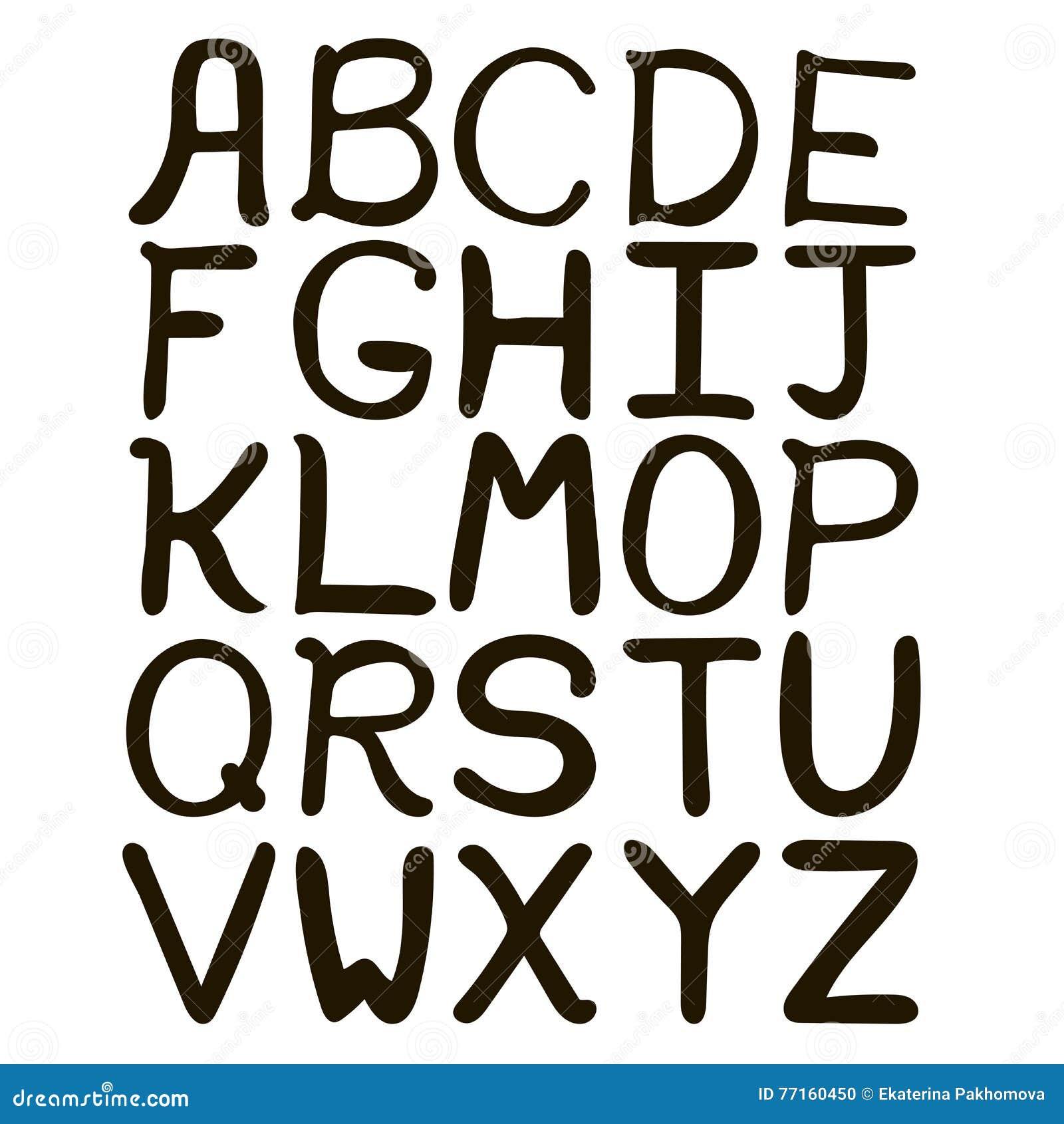Alphabet abstrait tiré par la main noir et blanc