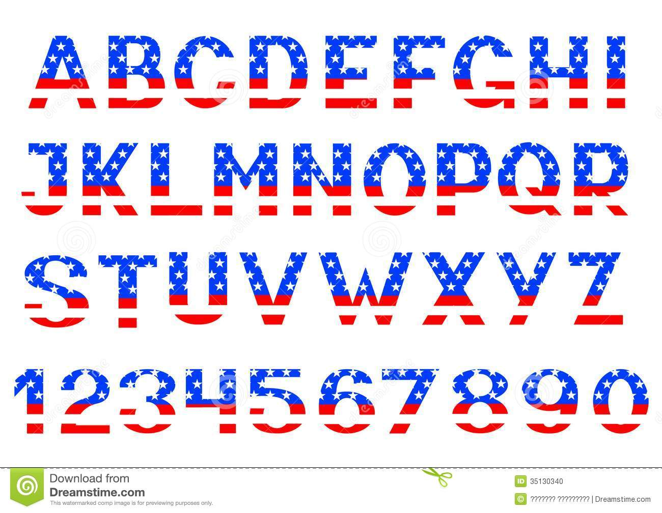 Letters and numbers alphabet of American flag.