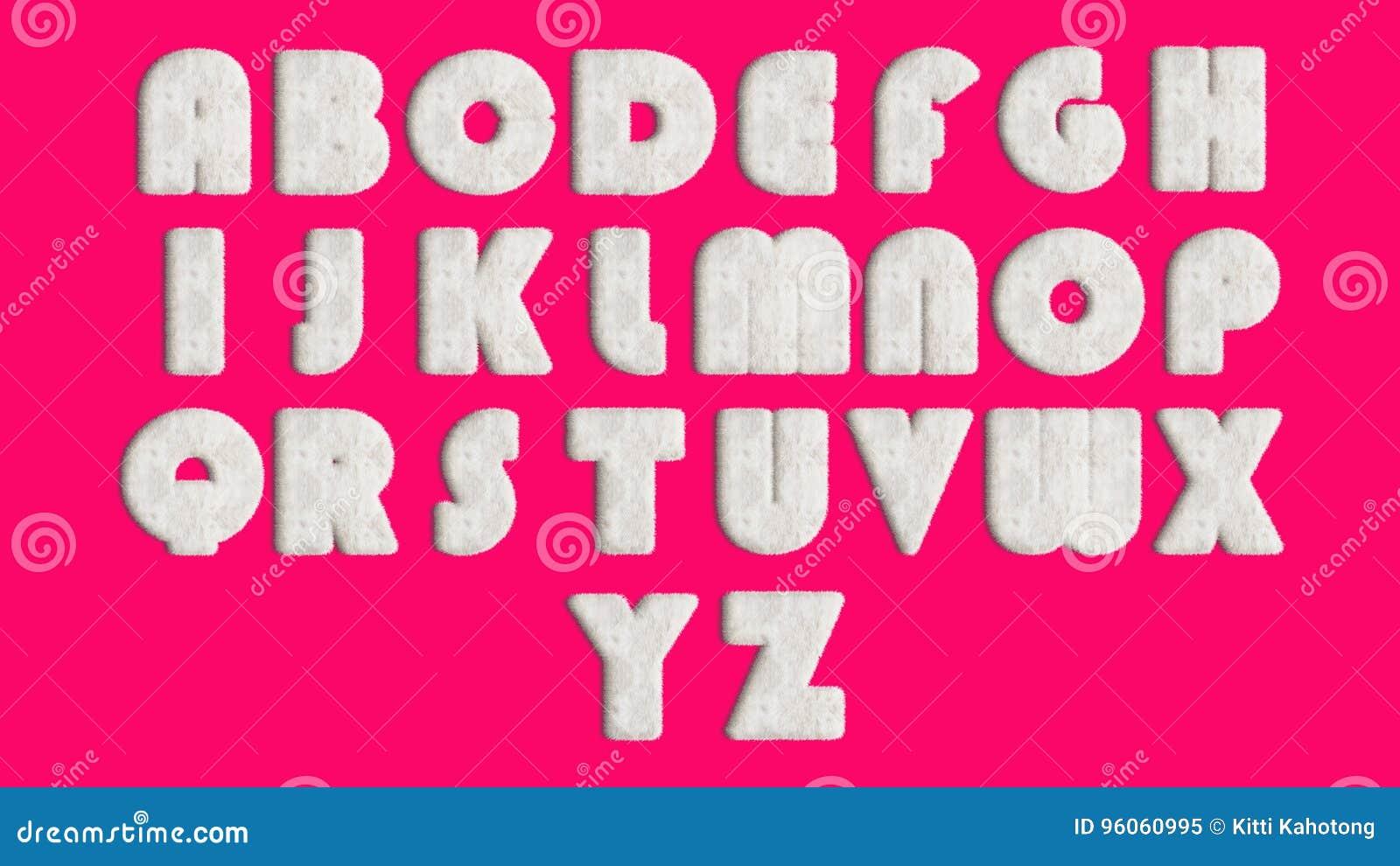 Alphabet anglais, fourrure de style de conception ou cheveux