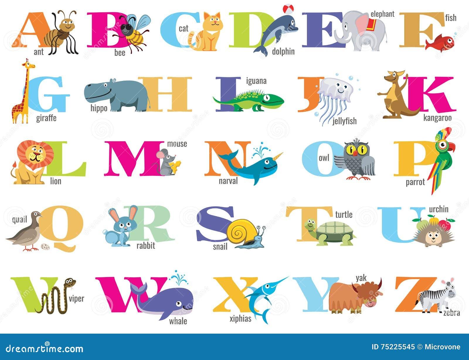 alphabet anglais pour des enfants avec les animaux mignons. Black Bedroom Furniture Sets. Home Design Ideas