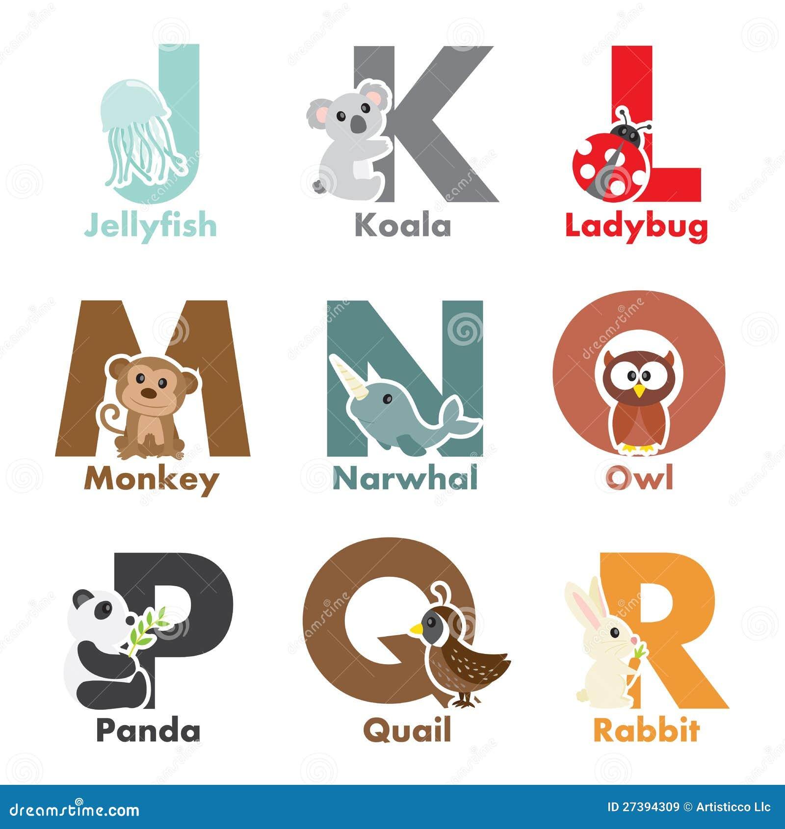 alphabet animals stock vector image of symbols ladybug 27394309
