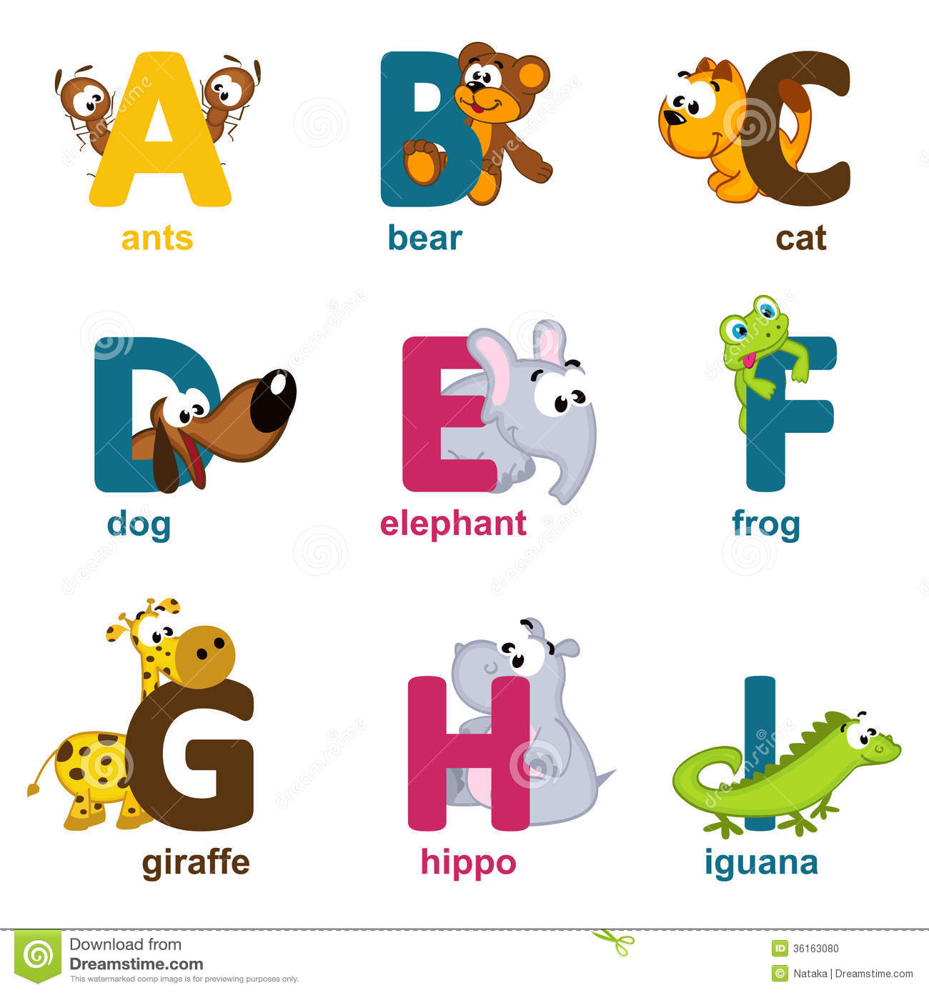 Alphabet Animals From A To I Stock Photo Image 36163080