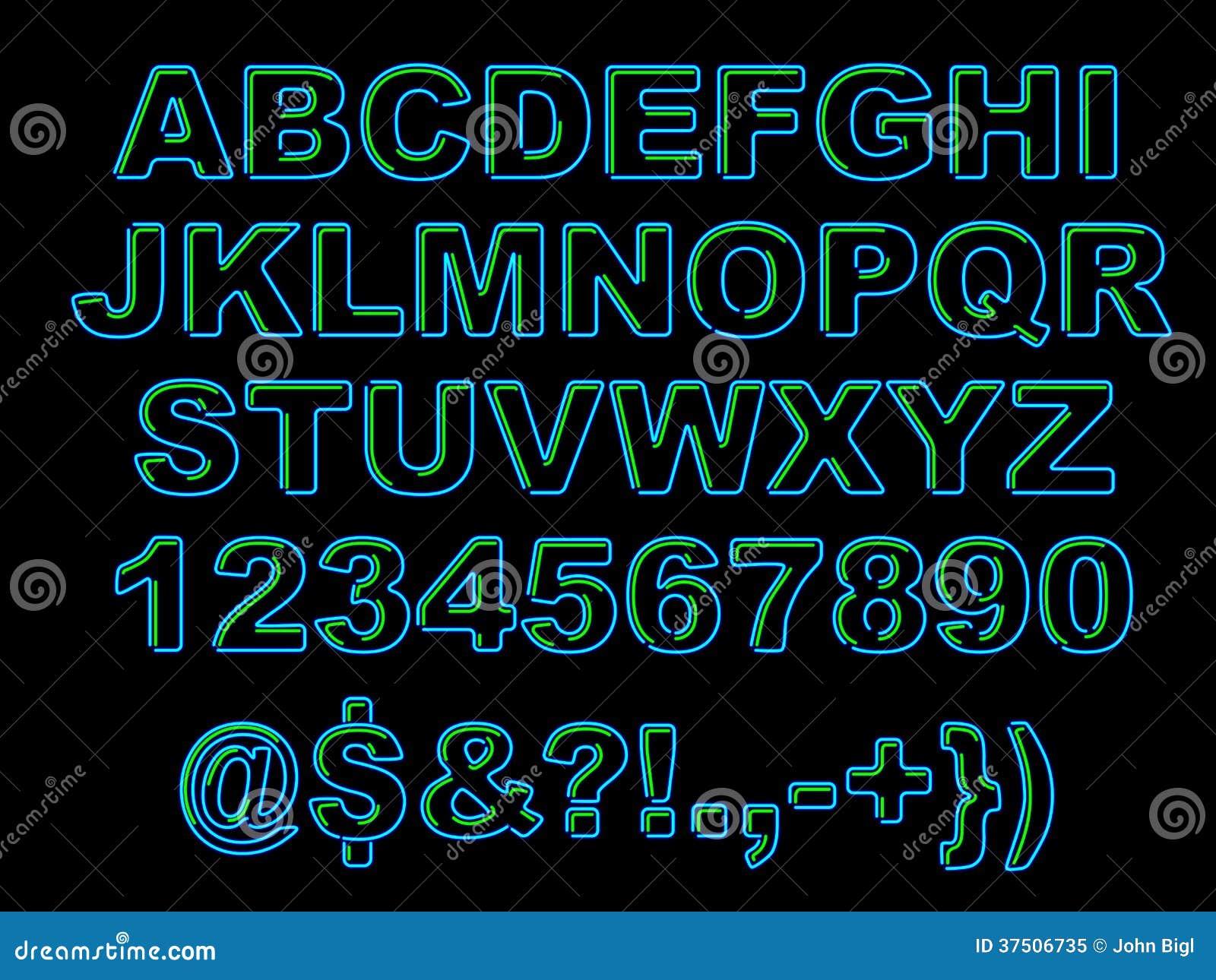 Alphabet au néon audacieux