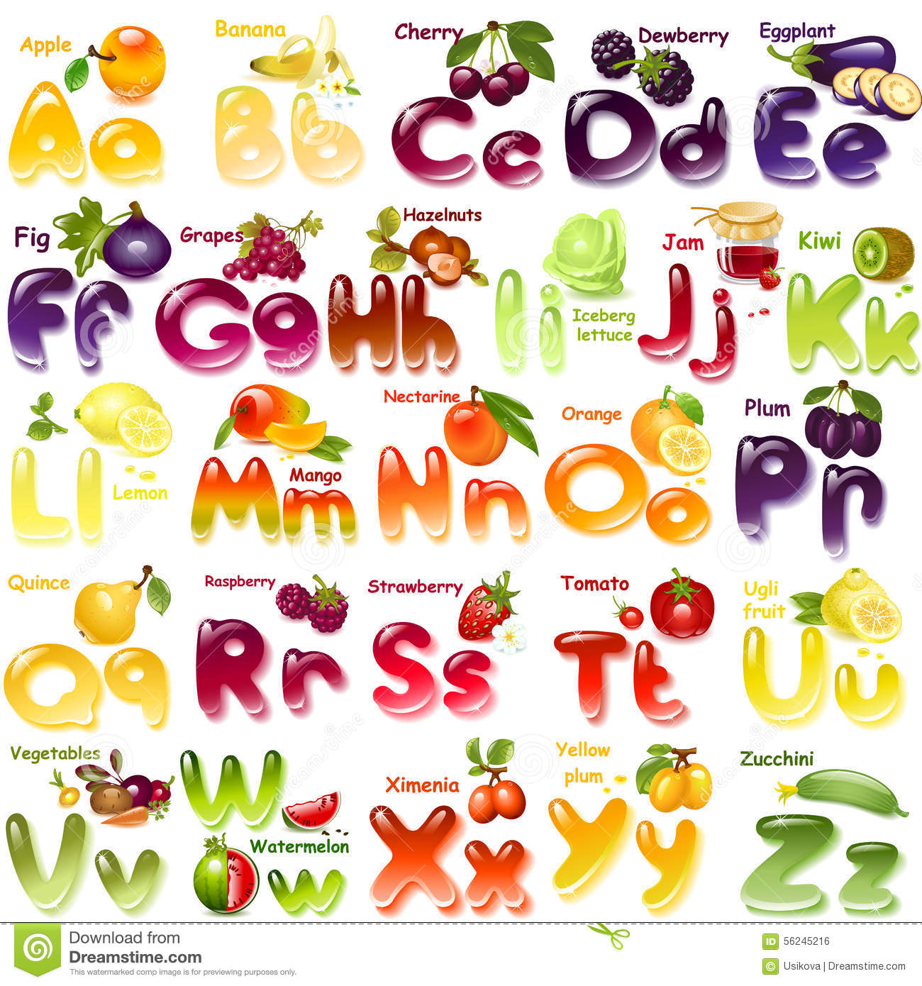 Vegetable Name With  Letters
