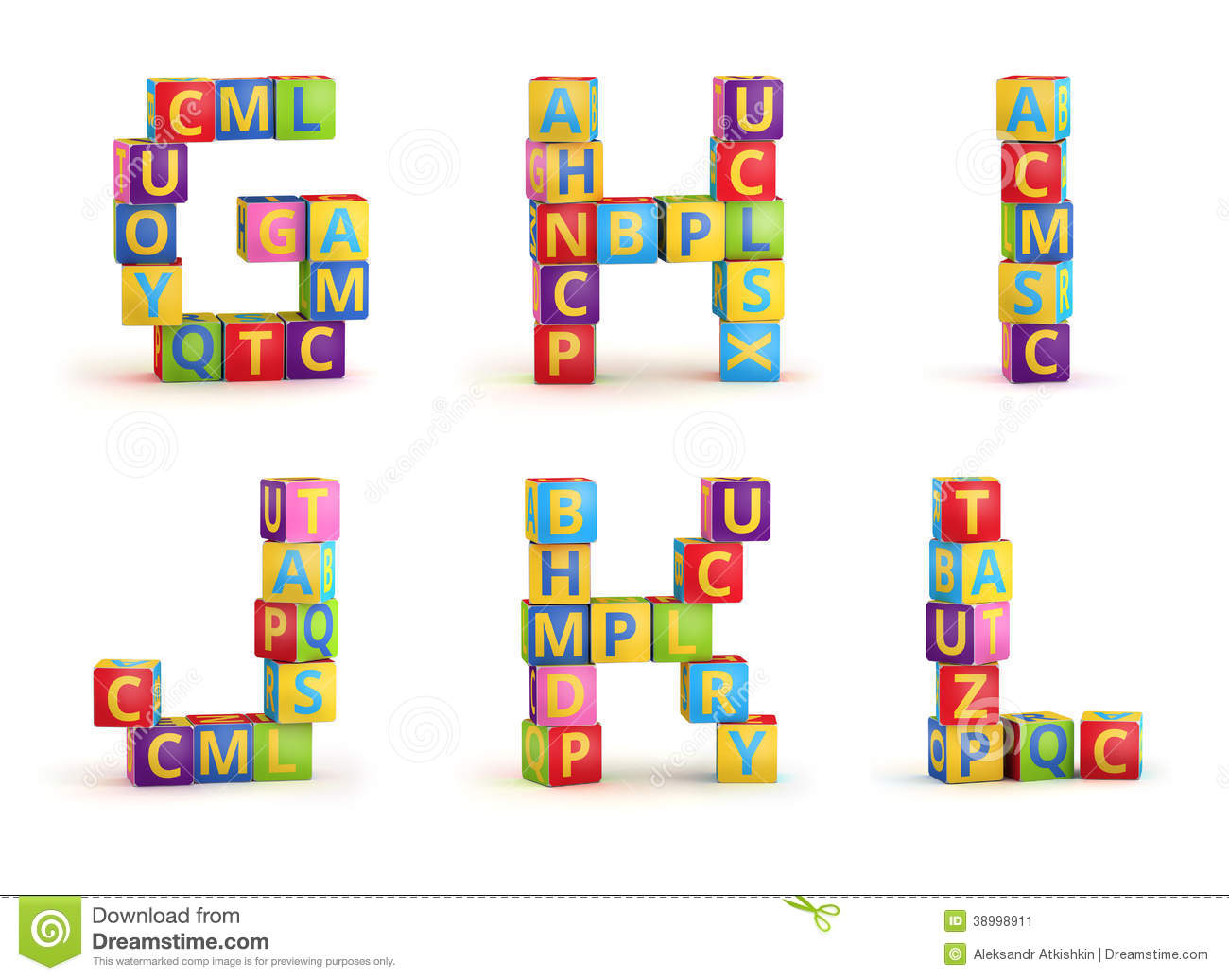 Alphabet On A Baby Cubes Letters Stock Illustration - Image: 38998911