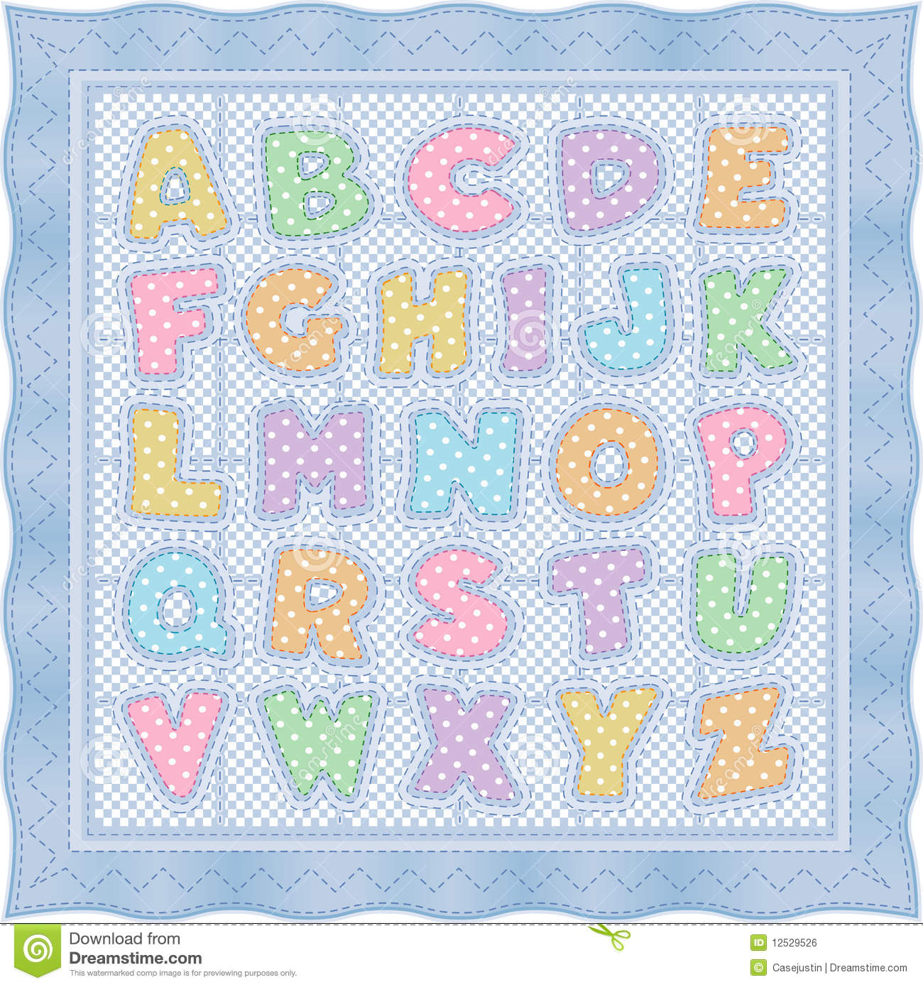 Alphabet Baby Quilt, Blue Pastel Stock Vector - Illustration of craft, illustration: 12529526