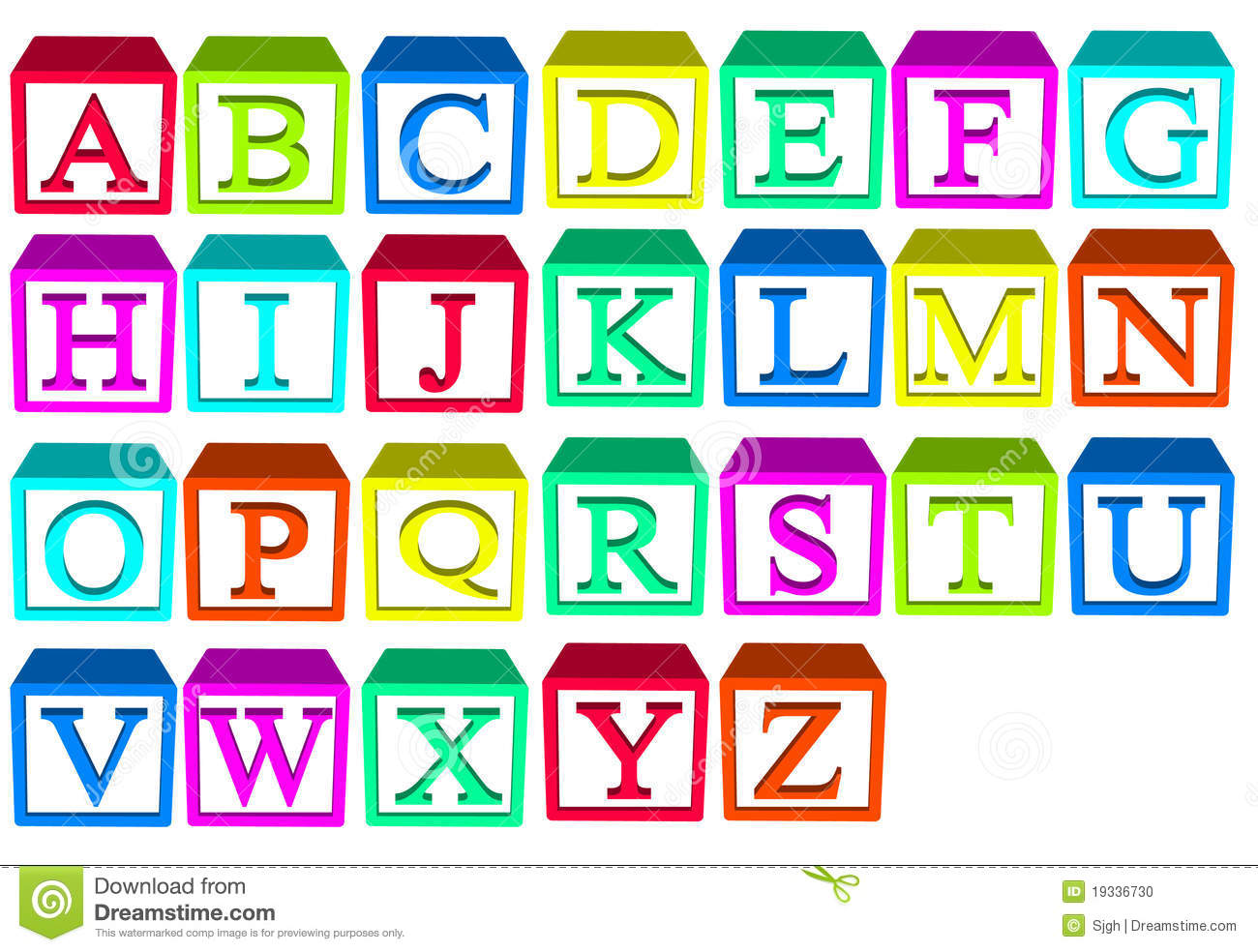Alphabet blocks for child stack and build your words.