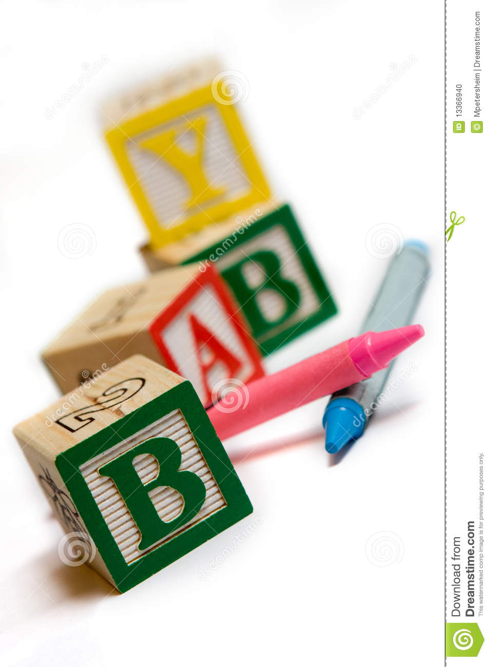 Alphabet Blocks With Crayons Stock Photo Image 13366940