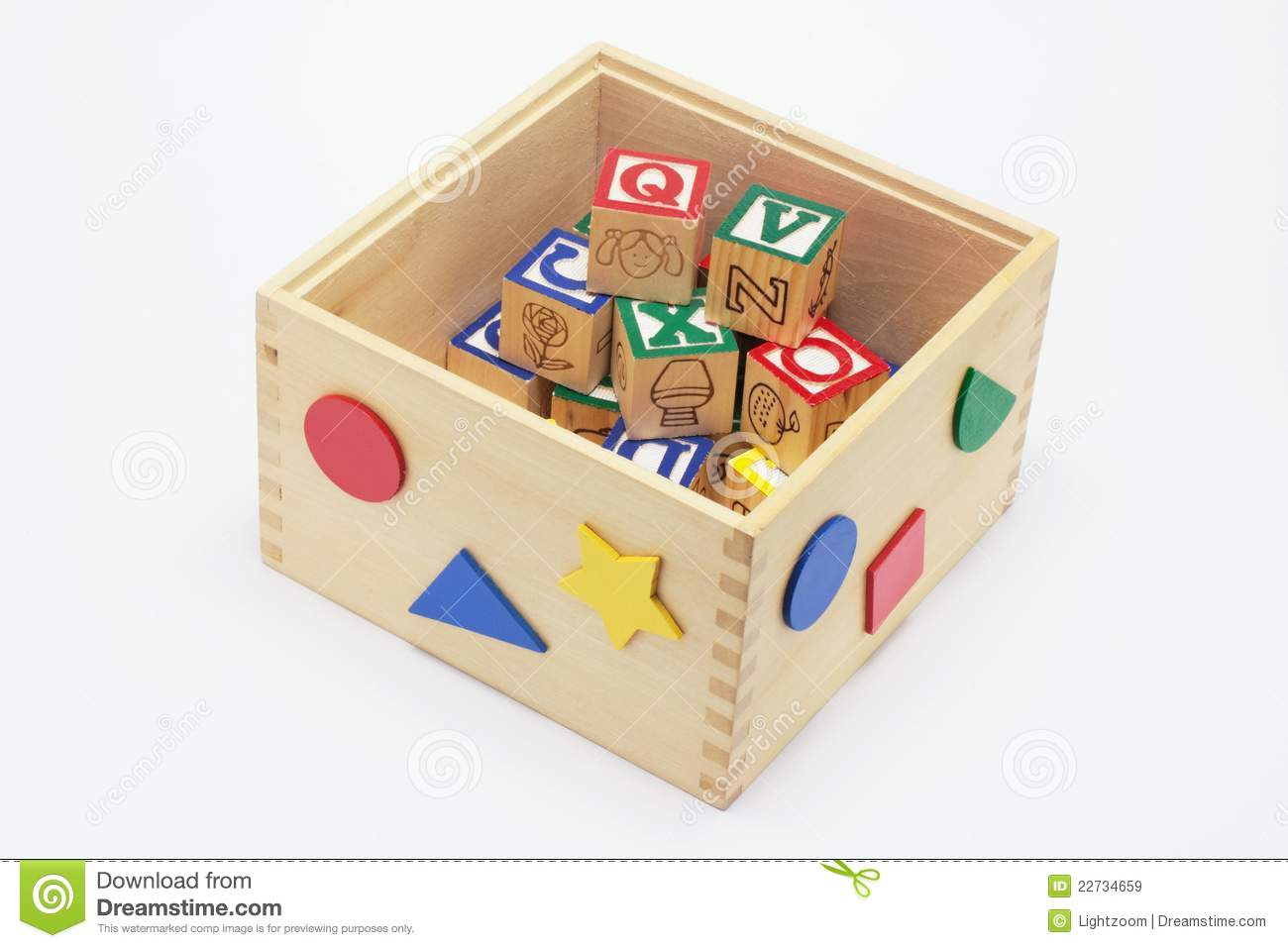 Alphabet Blocks In Toy Box Royalty Free Stock Images - Image: 22734659