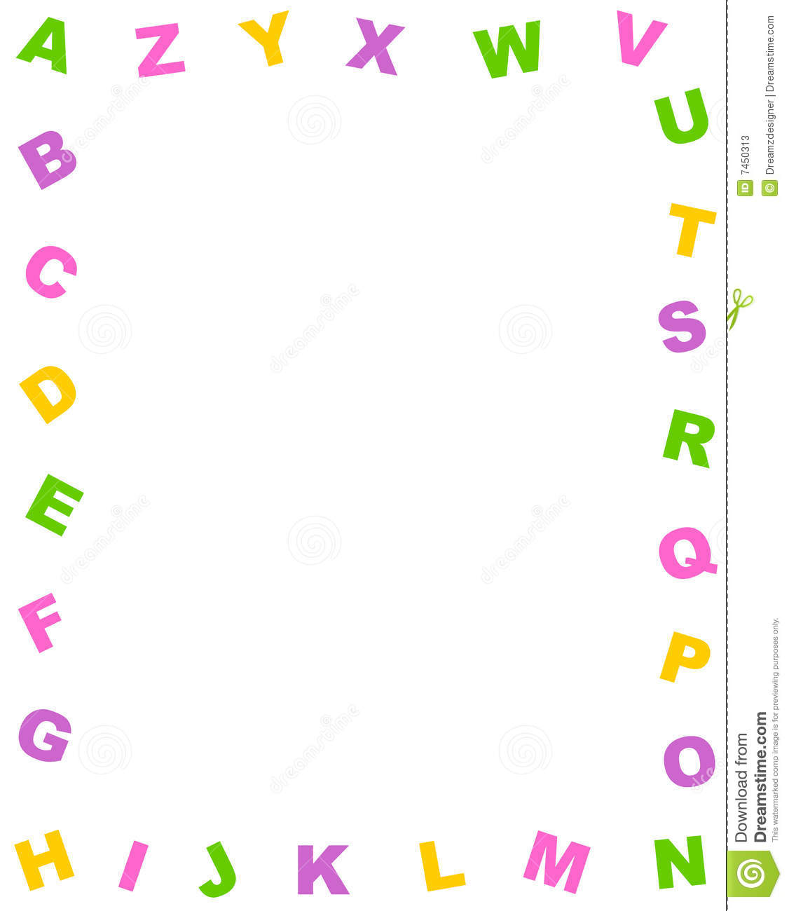 ... alphabet border / note paper on white background. a to z alphabet