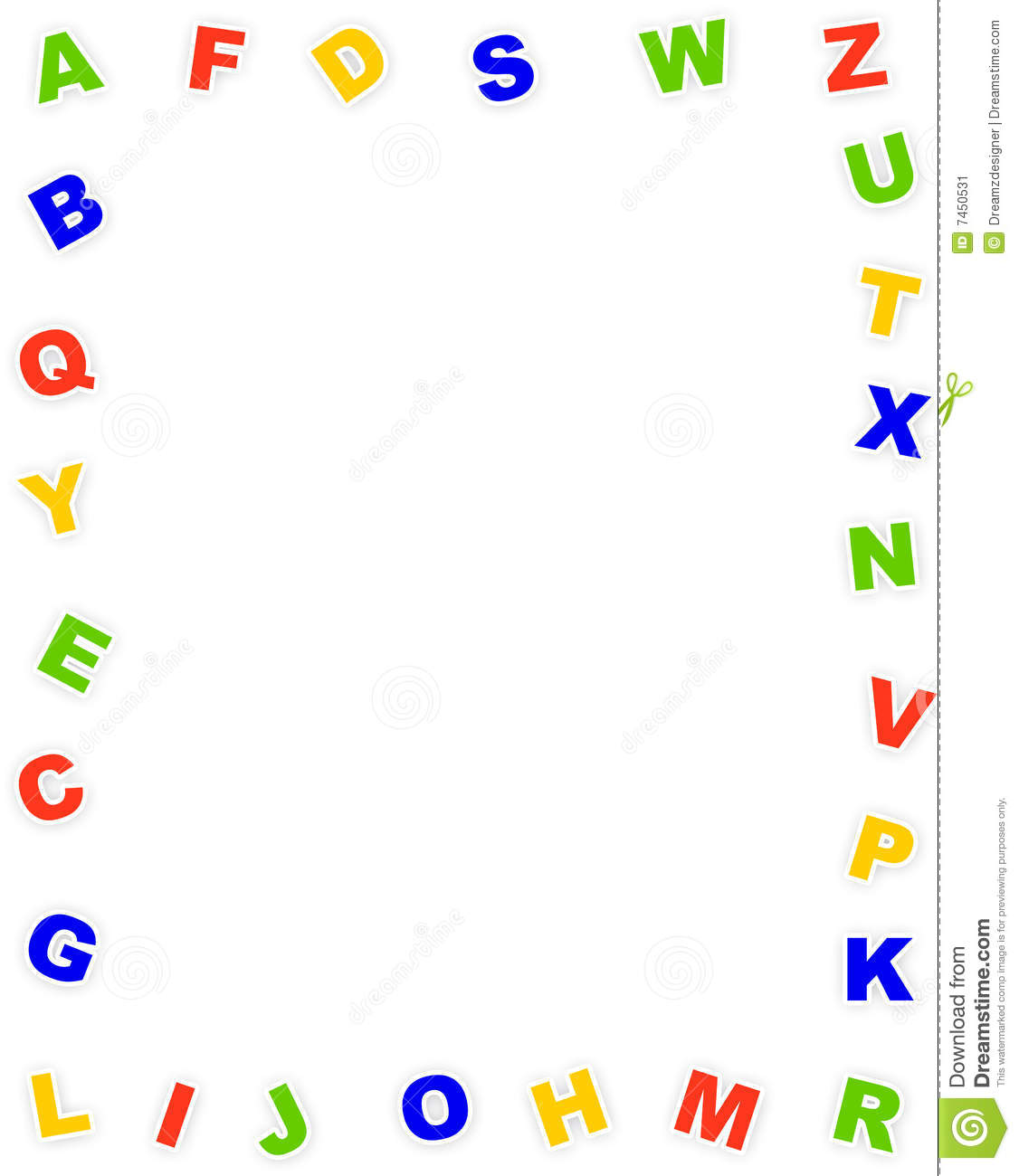 Cute and colorful alphabet border on white background. a to z alphabet ...