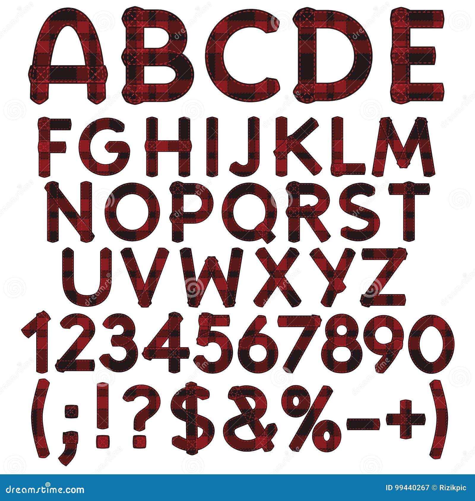Alphabet Buchstaben Zahlen Und Zeichen Vom Stoffschottenstoff