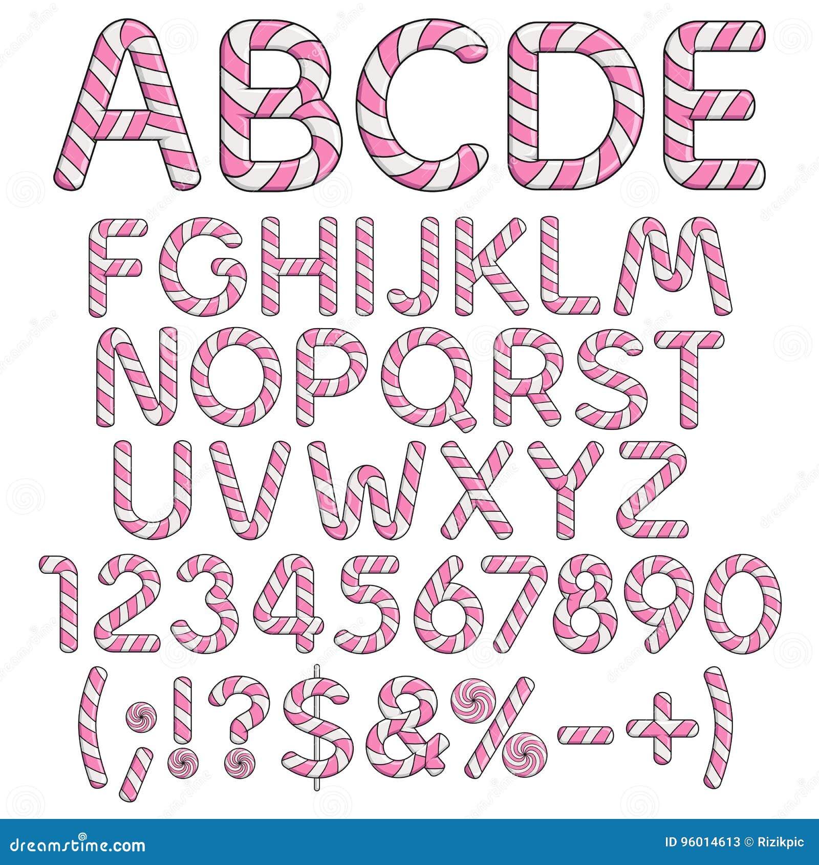 Alphabet Buchstaben Zahlen Und Zeichen Von Den Rosa Und Weißen