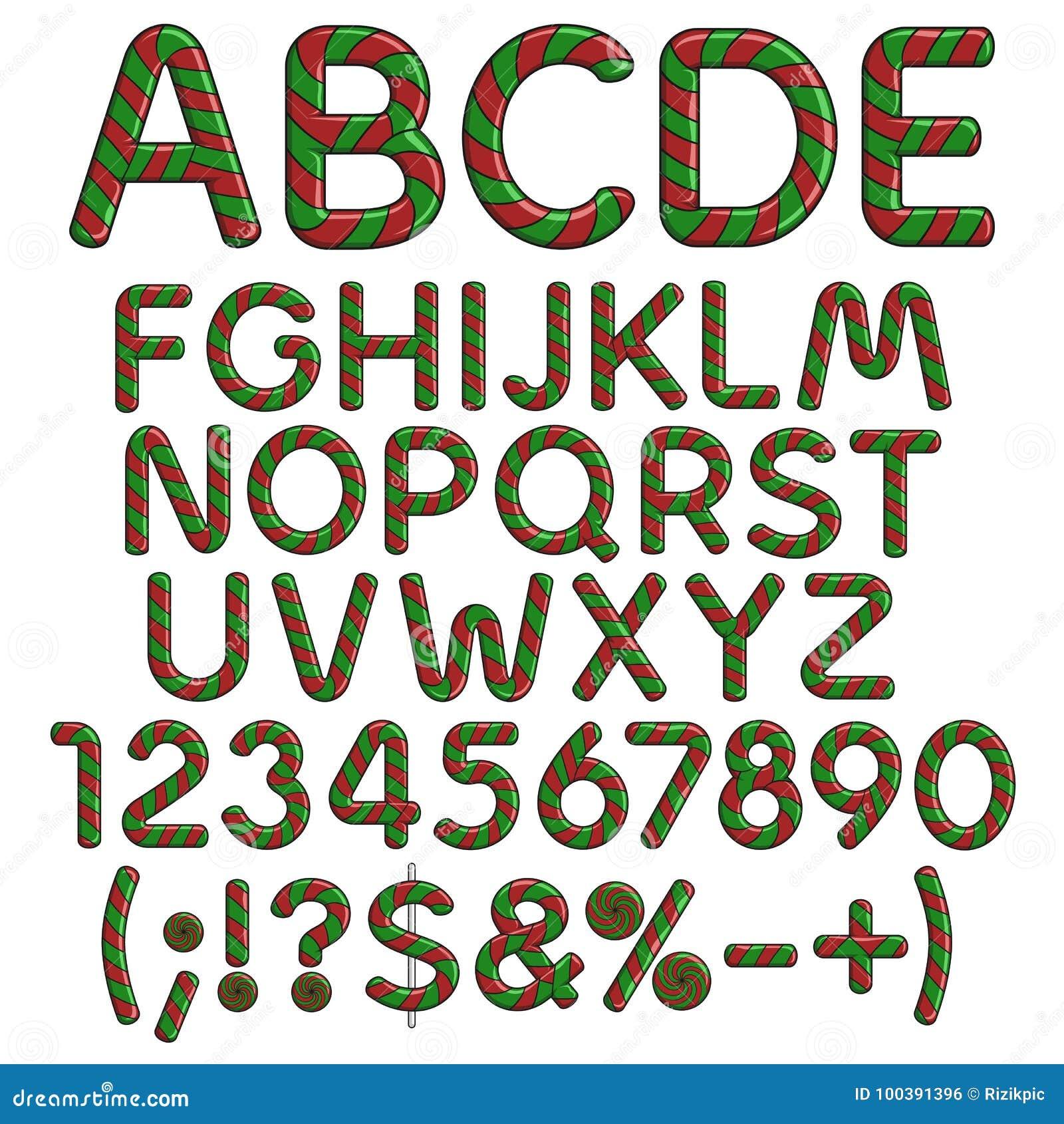 Alphabet Buchstaben Zahlen Und Zeichen Von Den Weihnachtsroten Und