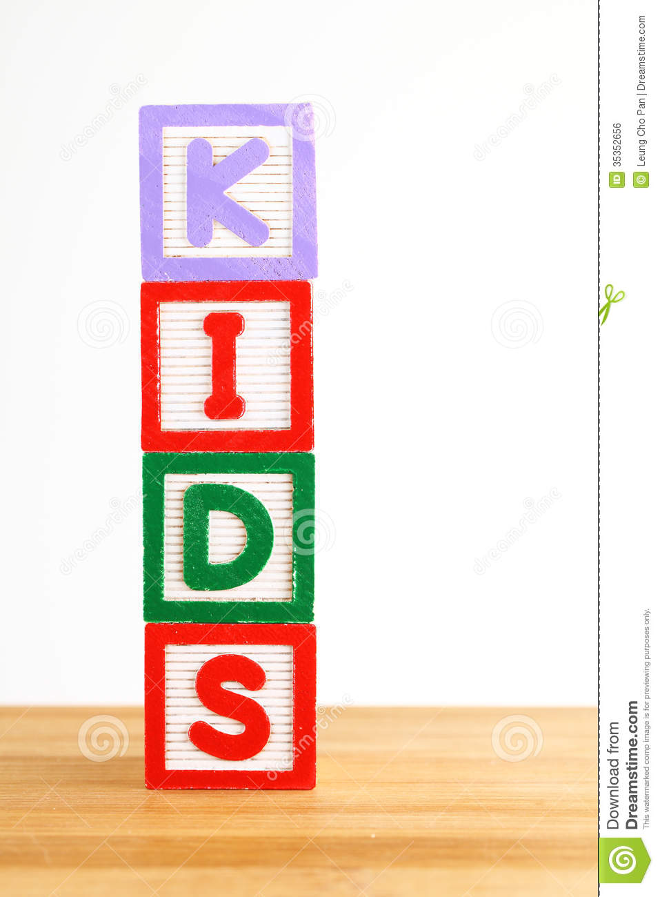 Alphabet Building Blocks That Spelling The Word Kids Stock ...