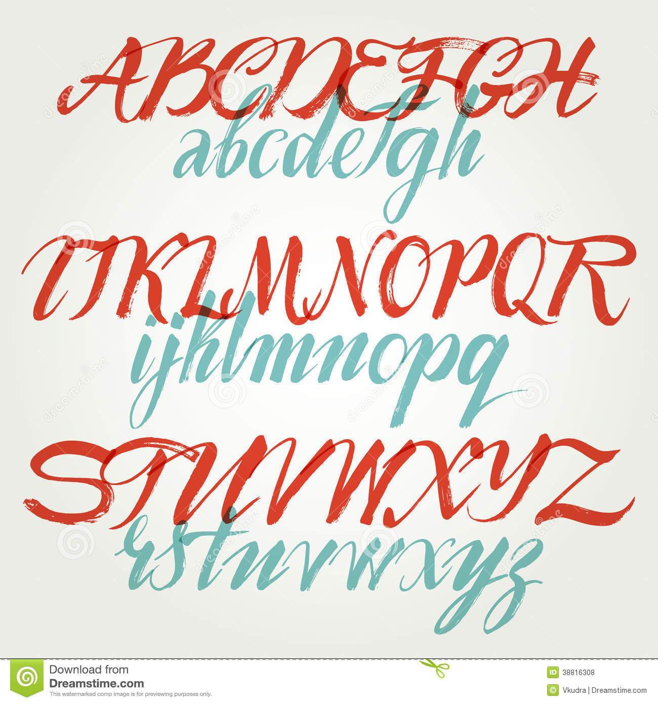 The alphabet in calligraphy brush stock vector image