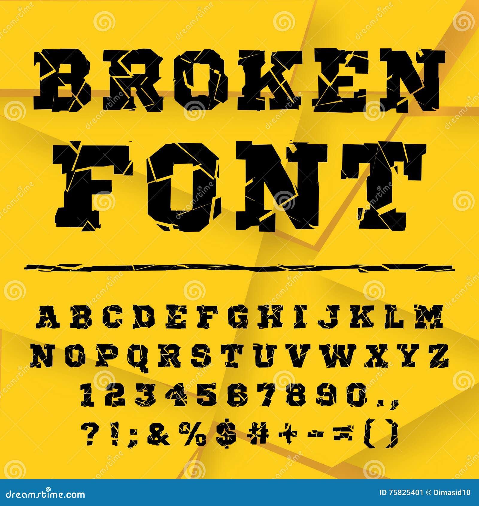 Alphabet cassé Ensemble complet