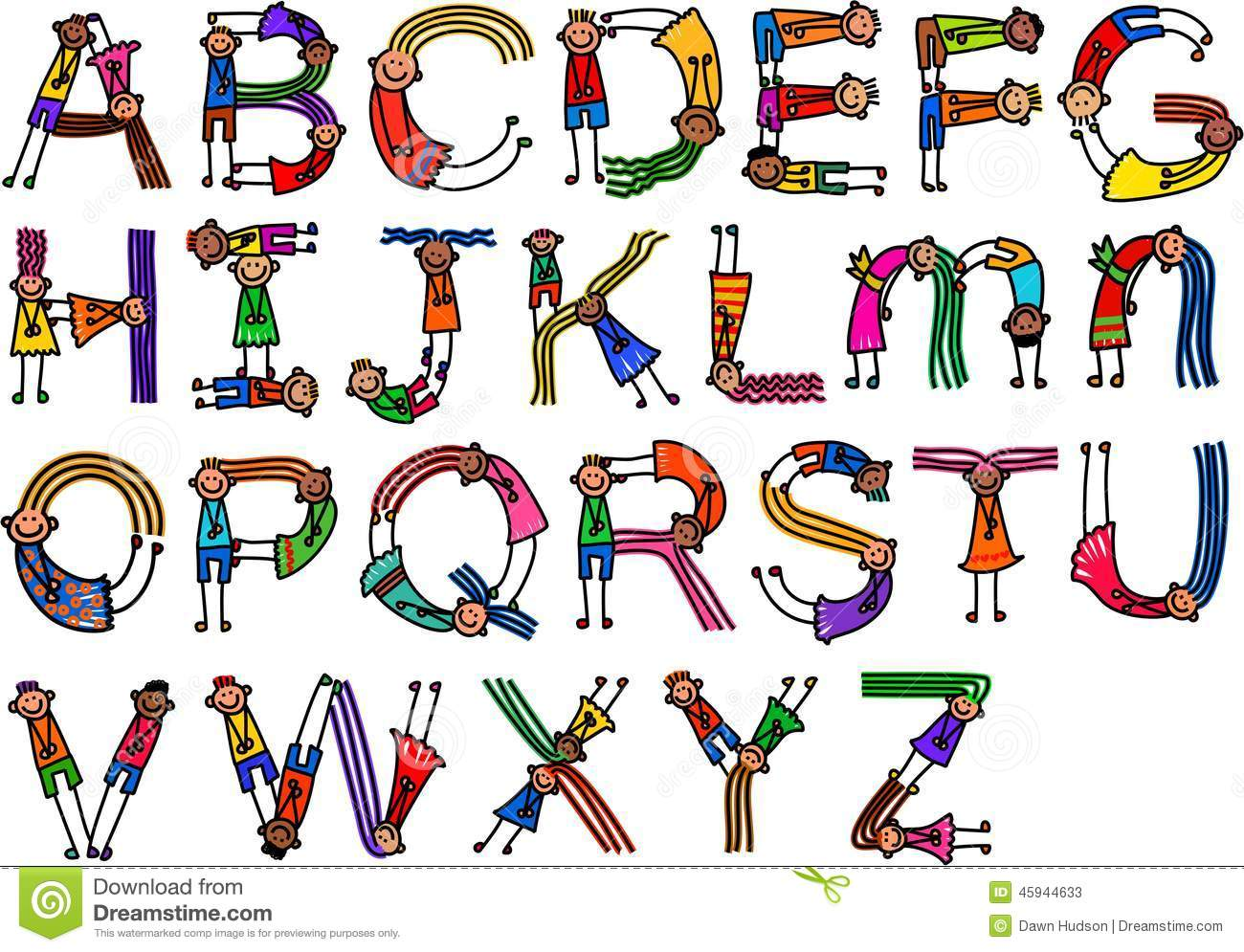 9 Letter Cartoon Characters : Alphabet character children stock illustration