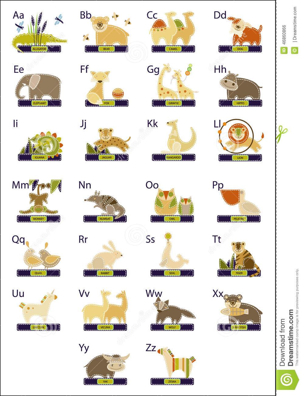 Chart Alphabet For Children With Picture And Name Of Wild Animals And Birds Dreamstimecom Alphabet Stock Vector Illustration Of Kangaroo Picture 46860866