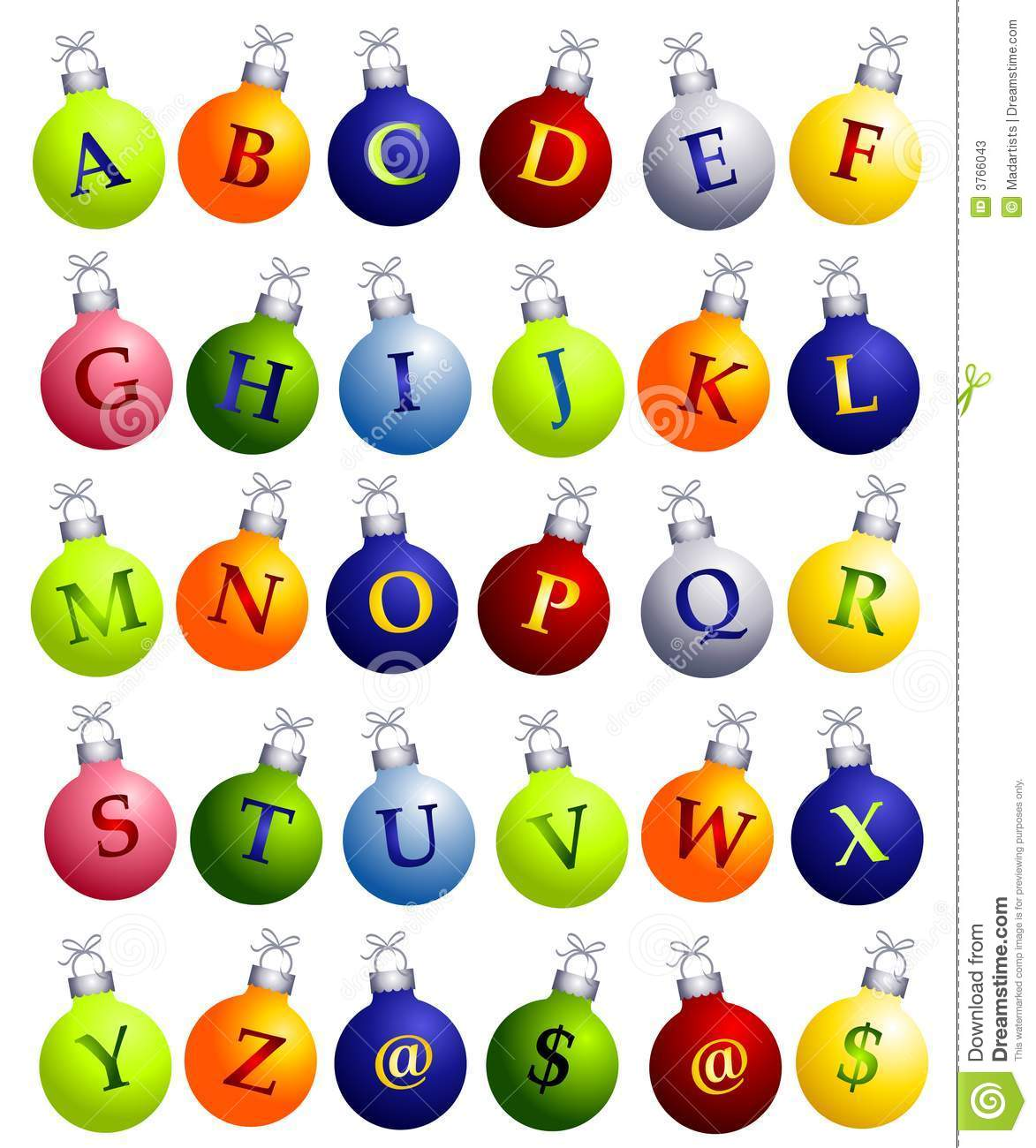 download alphabet on christmas ornaments stock illustration illustration of images illustrated 3766043