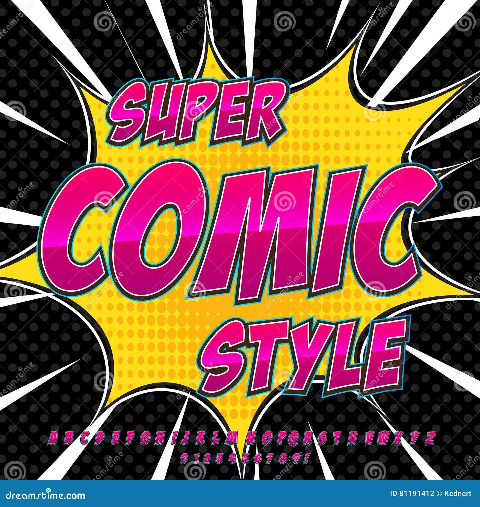 Alphabet Collection Set. Comic Pop Art Style. Light Pink Color ...
