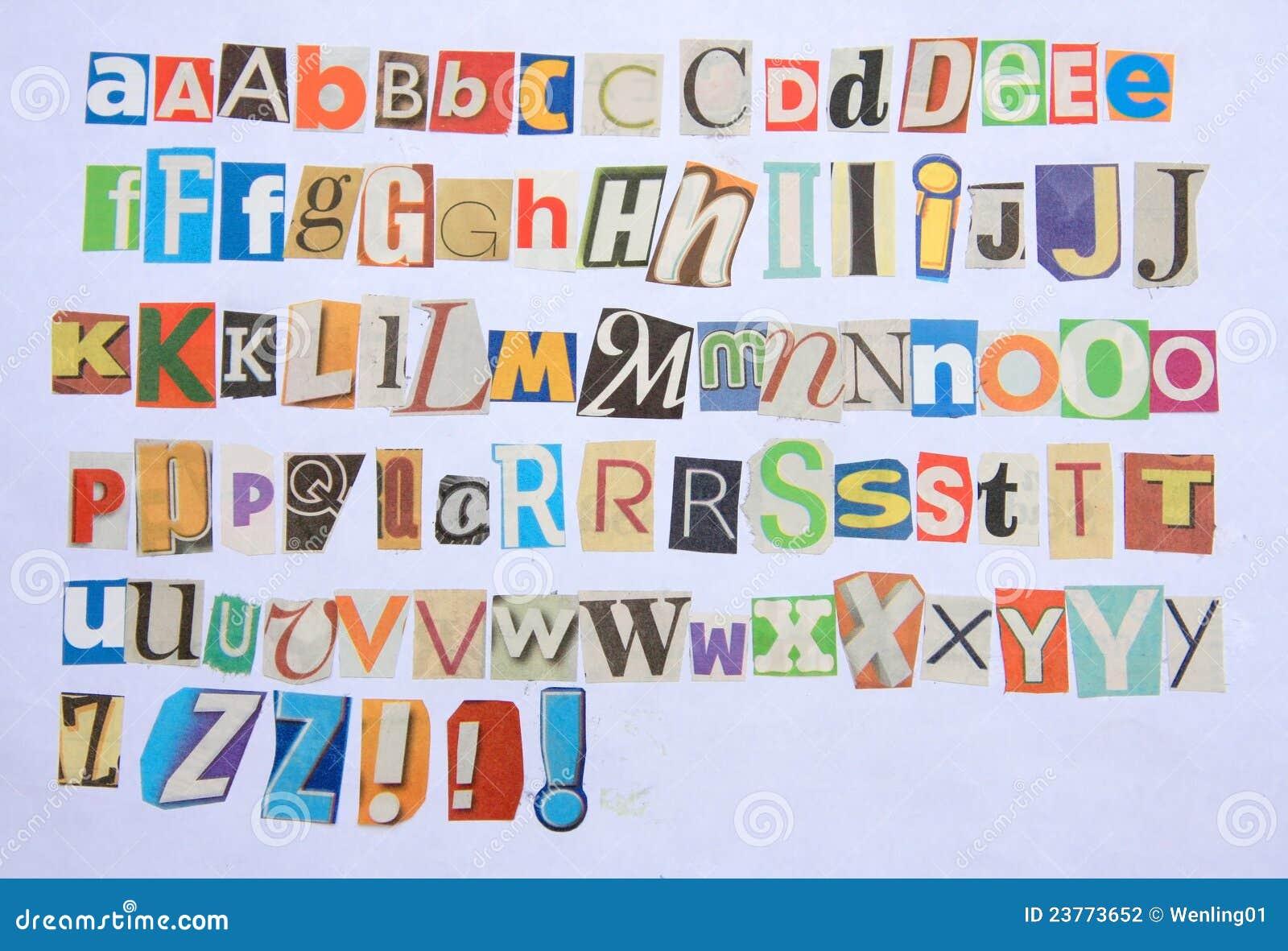 Alphabet coloré du journal 26