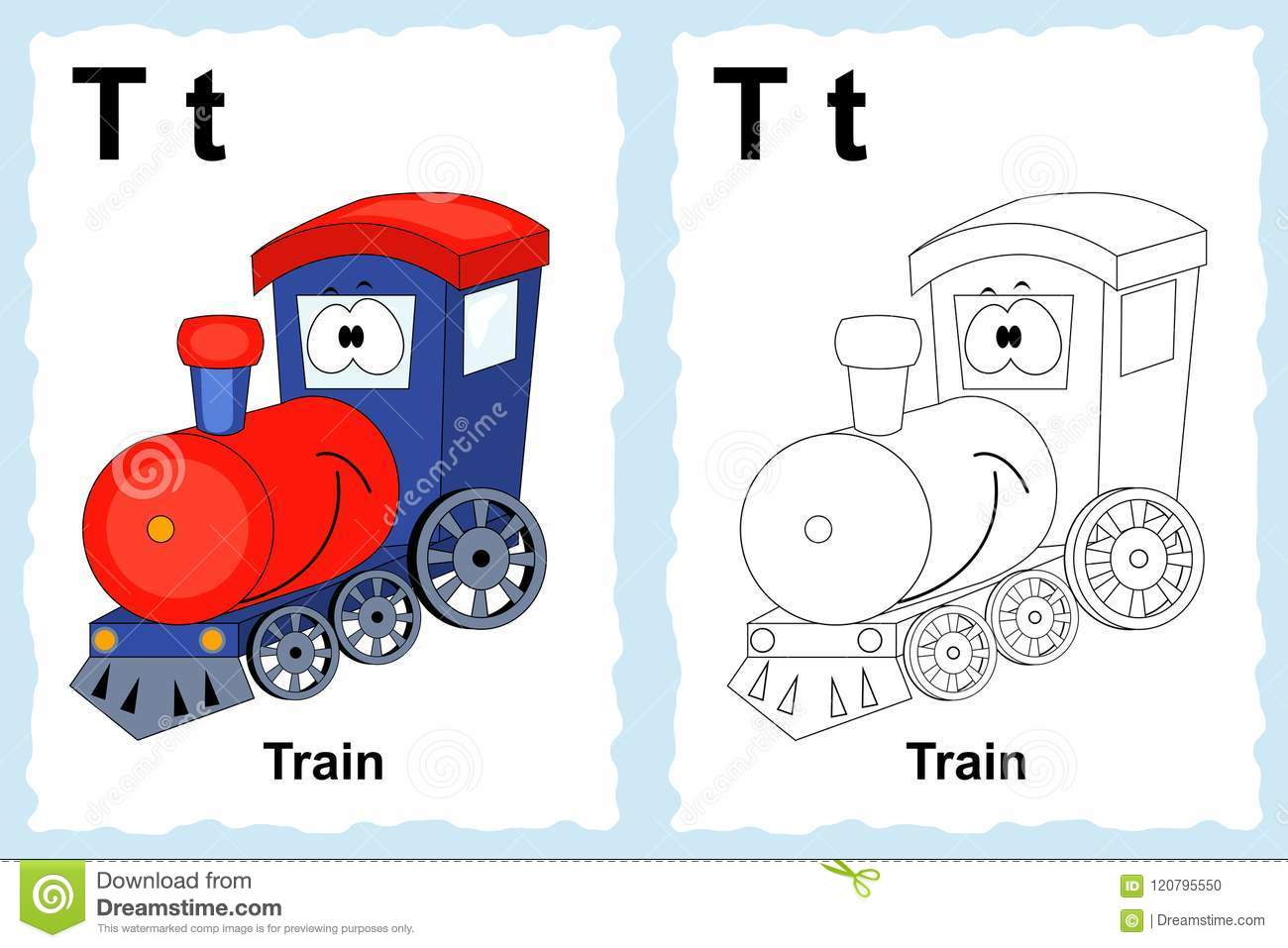 Alphabet coloring book page with outline clip art to color. Letter T. Train. Vector vehicles.