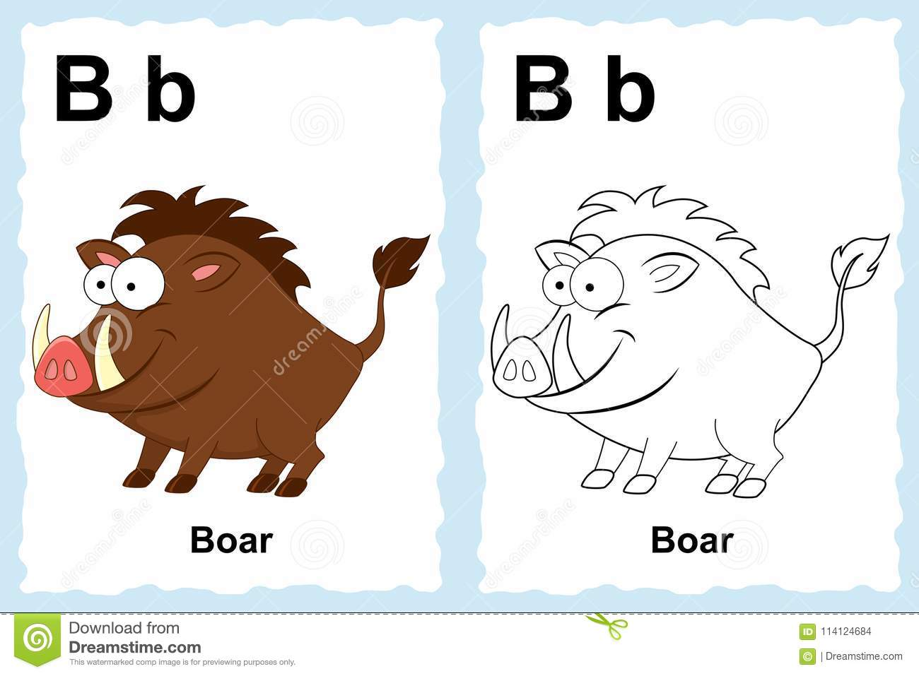 Alphabet coloring book page with outline clip art to color. Letter B. Boar. Vector animals.