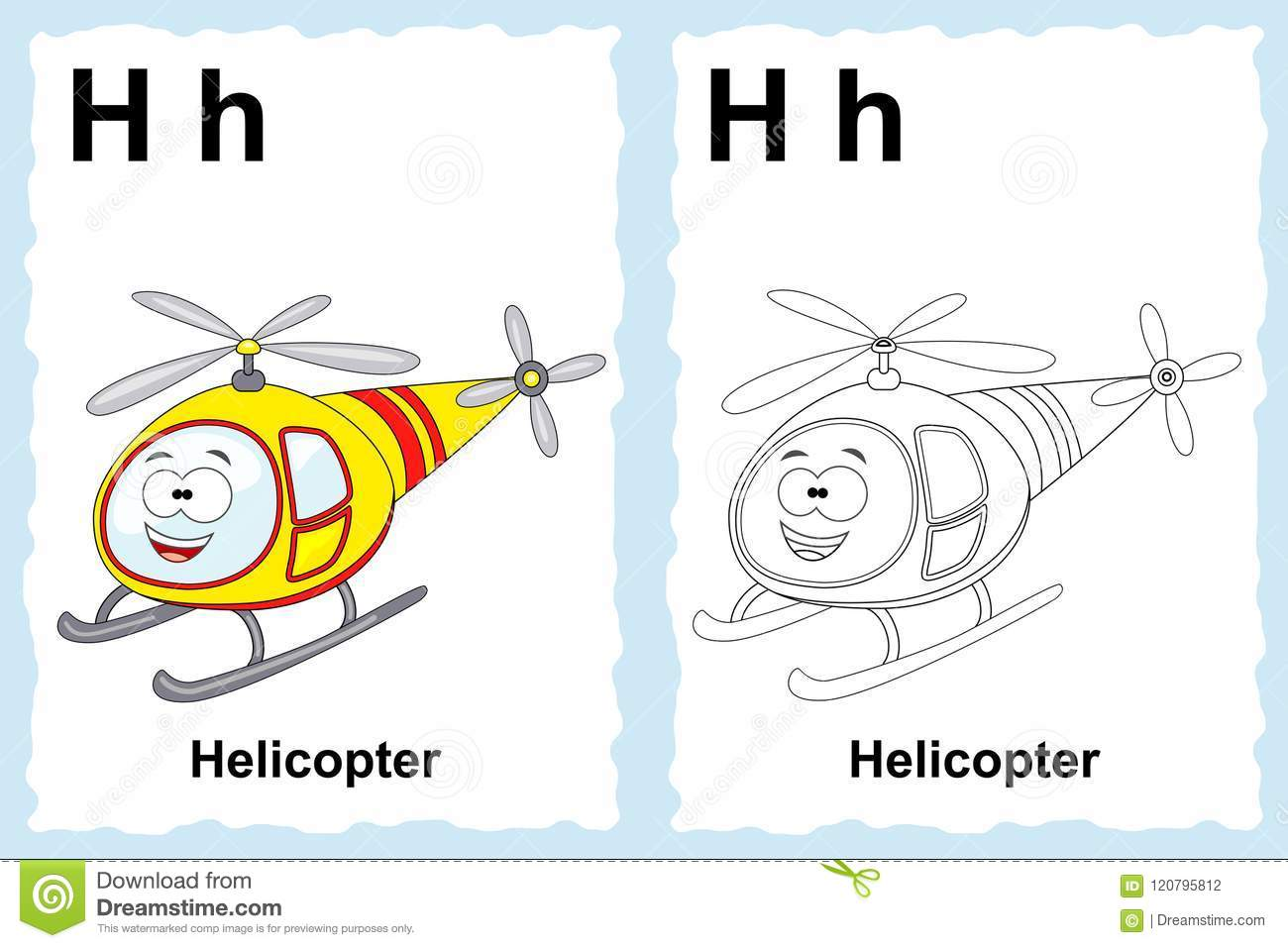 Alphabet coloring book page with outline clip art to color. Letter H. Helicopter. Vector vehicles.